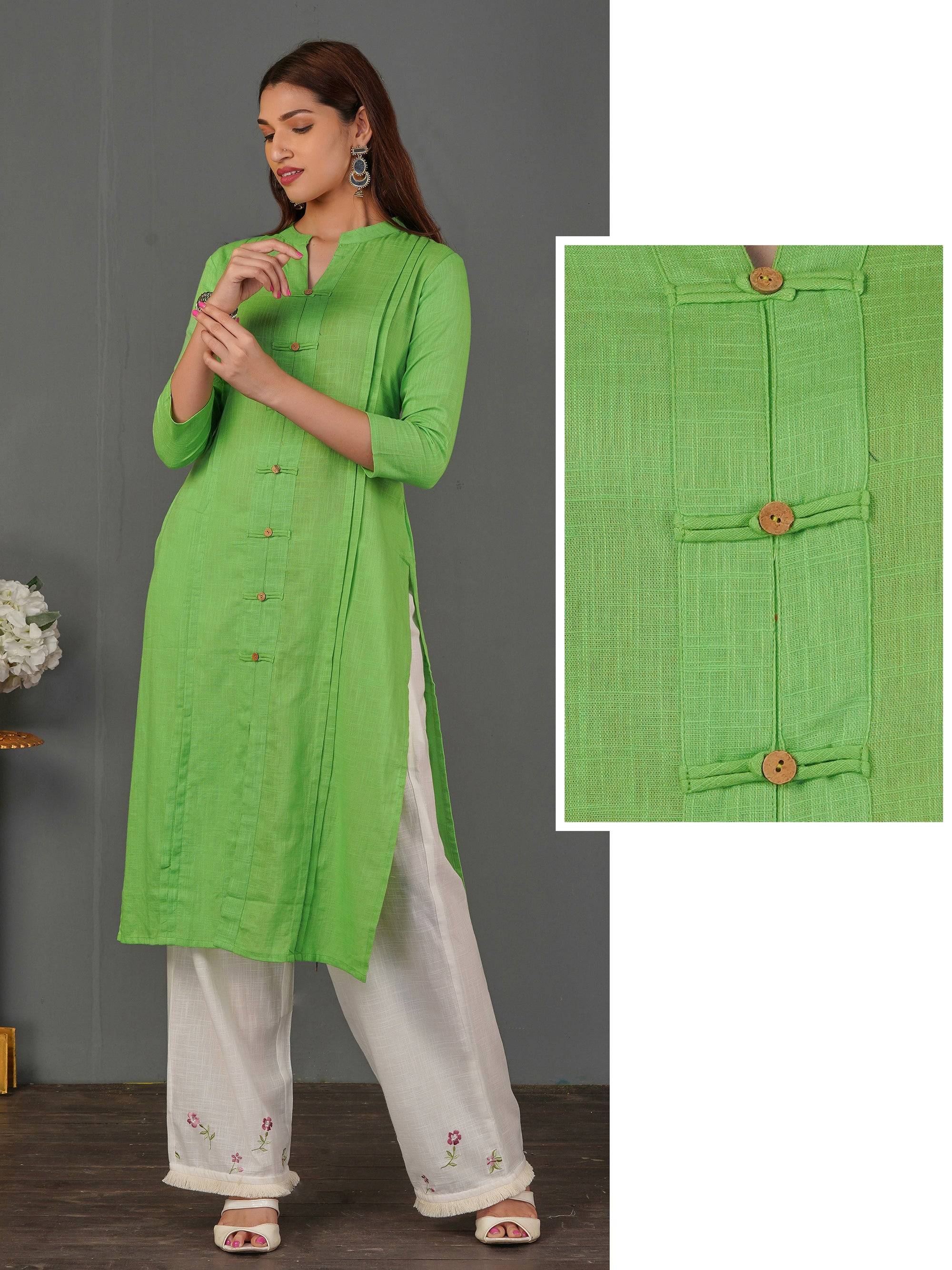 Coconut Shell Buttoned Solid Cotton Kurti - Parrot Green