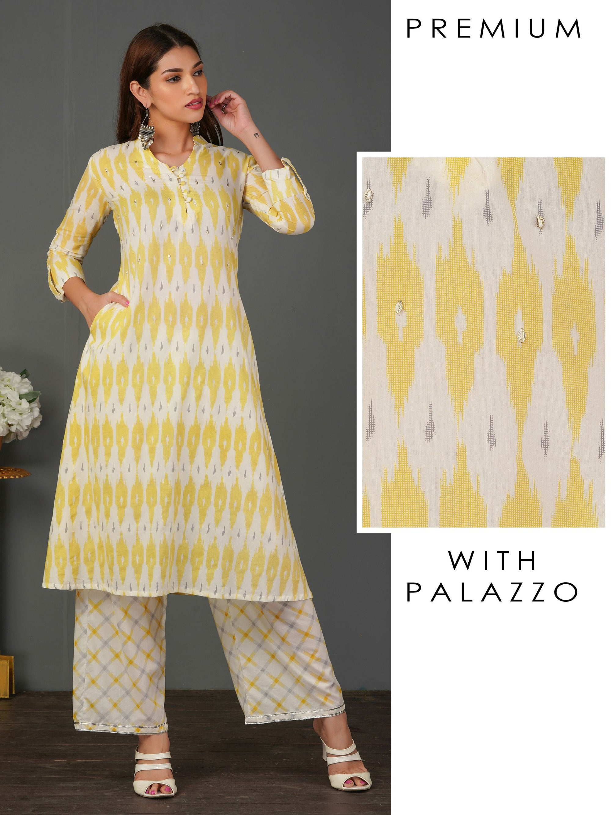 Ikkat Printed Sequins Kurti with Diamond Checkered Palazzo Set - Yellow