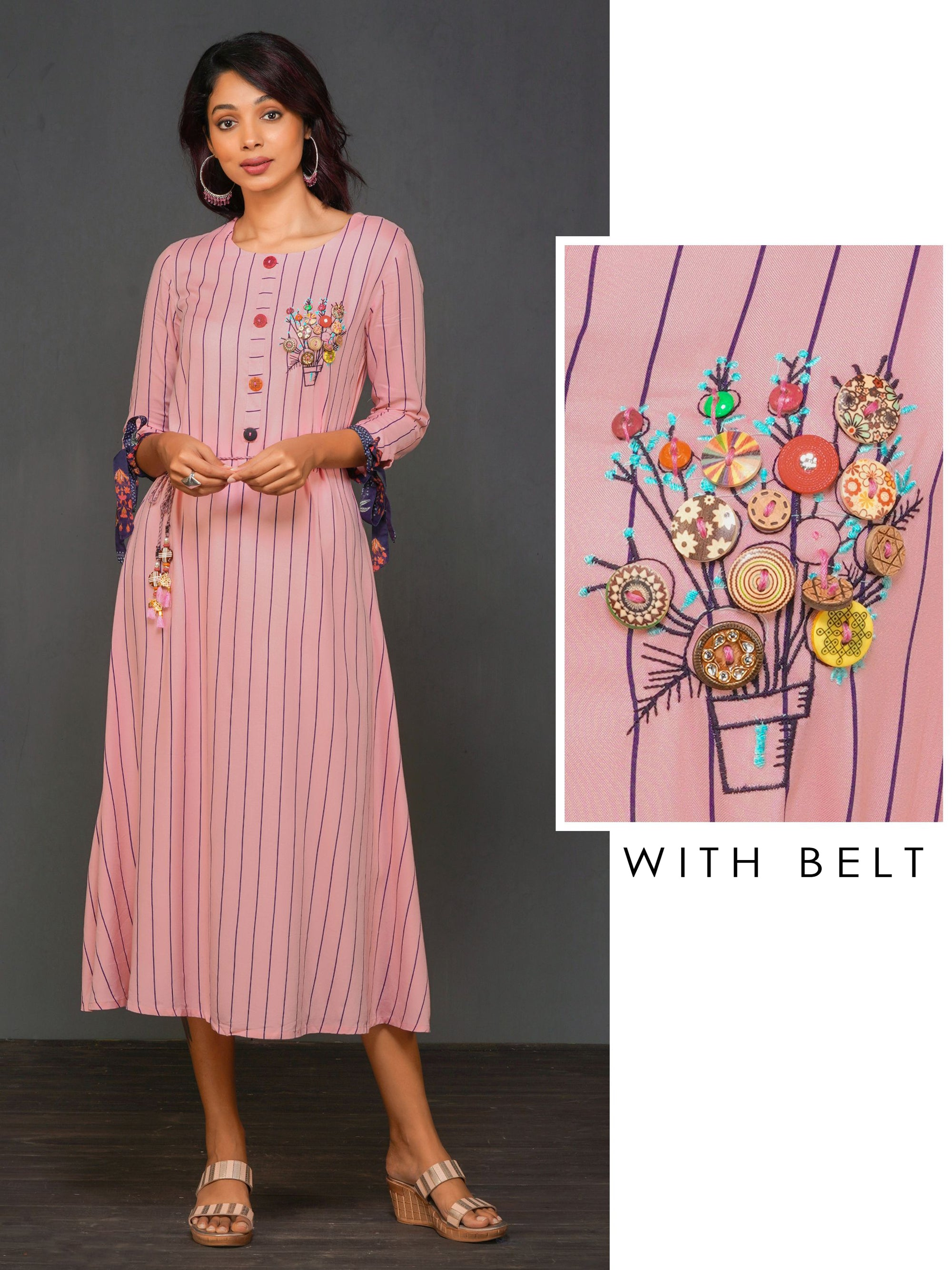 Pencil Stripes, Designer Button Embellished Maxi With Braided Belt