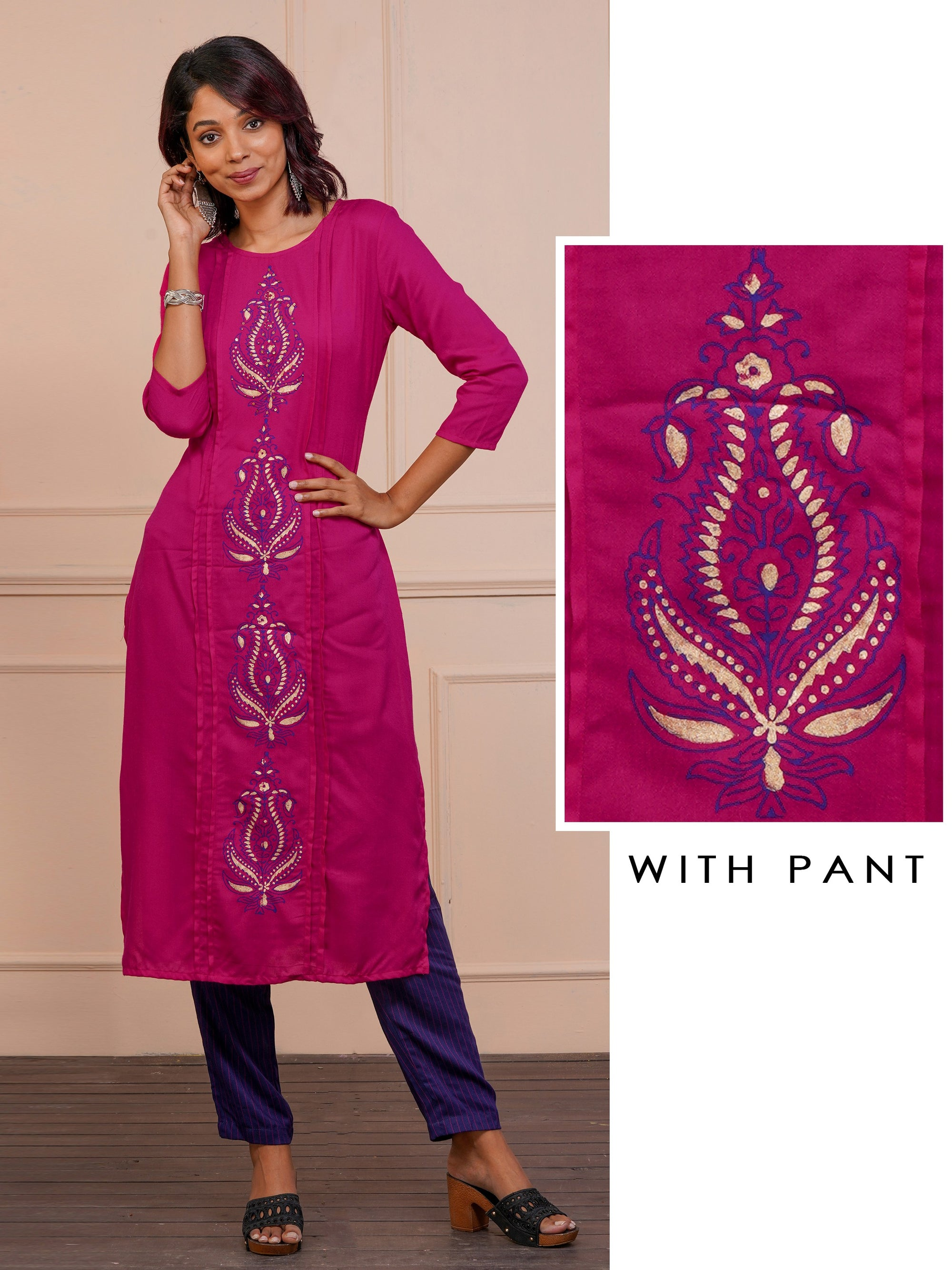 Gold Highlighted Flower Pot Design Kurta With Striped Pant