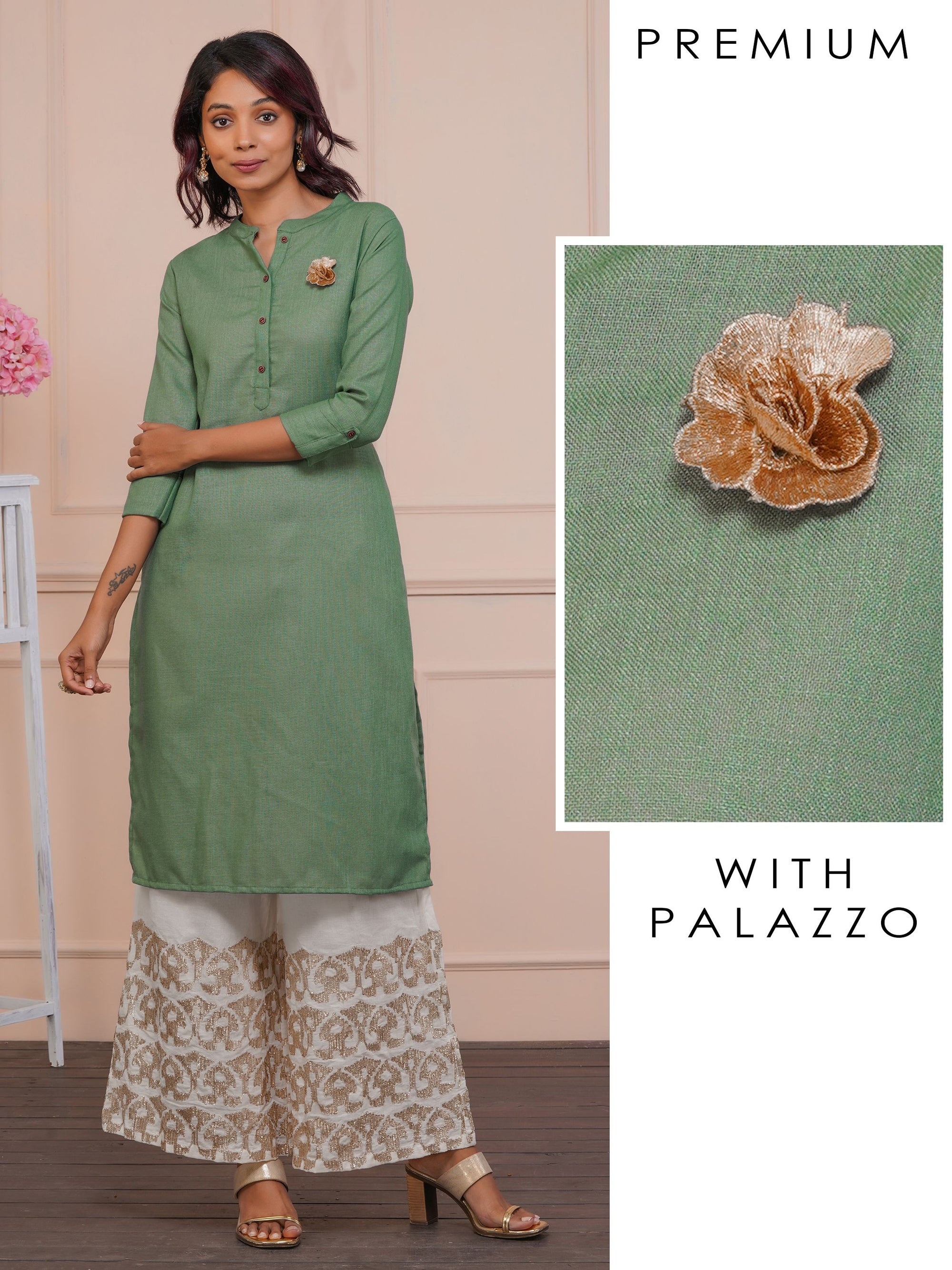 Gold Zari Floral Applique Kurta with Gota Embellished Palazzo Set - Jadesheen Green