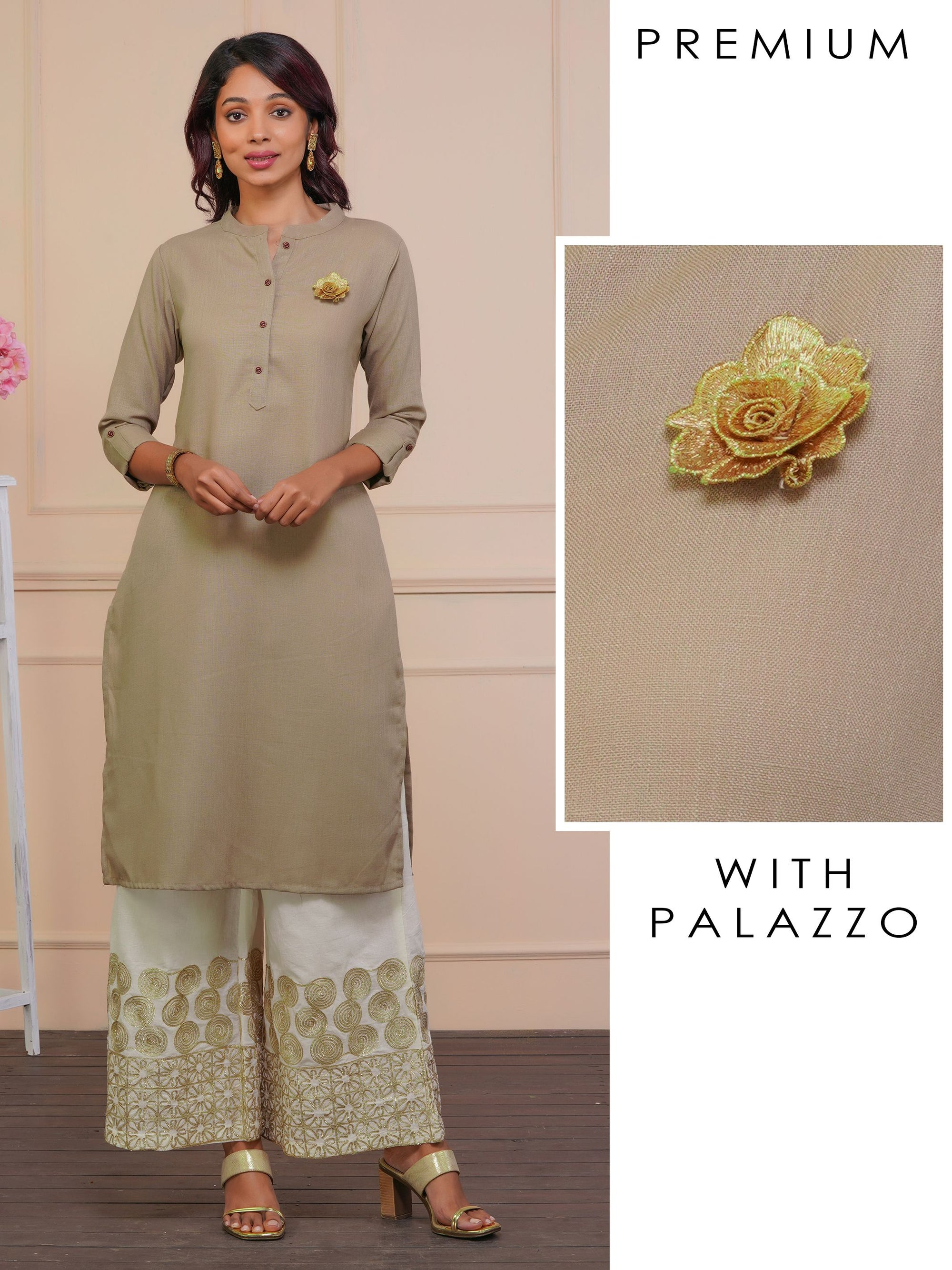 Gold Zari Floral Applique Kurta with Gota Embellished Palazzo Set - Light Taupe Brown