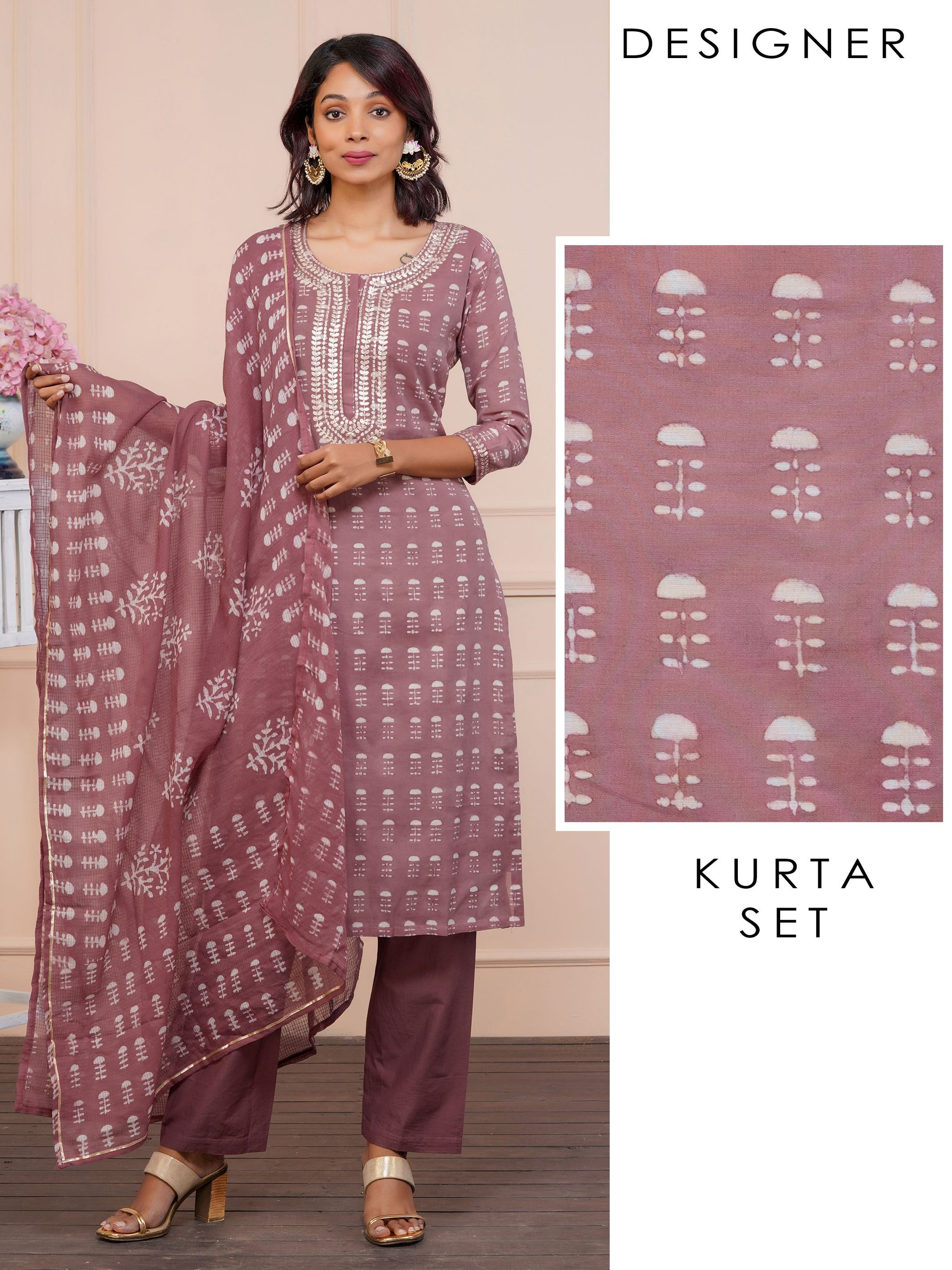 Cord Embroidered Abstract Printed Kurti, Solid Pant Set & Printed Dupatta - Rose Dawn