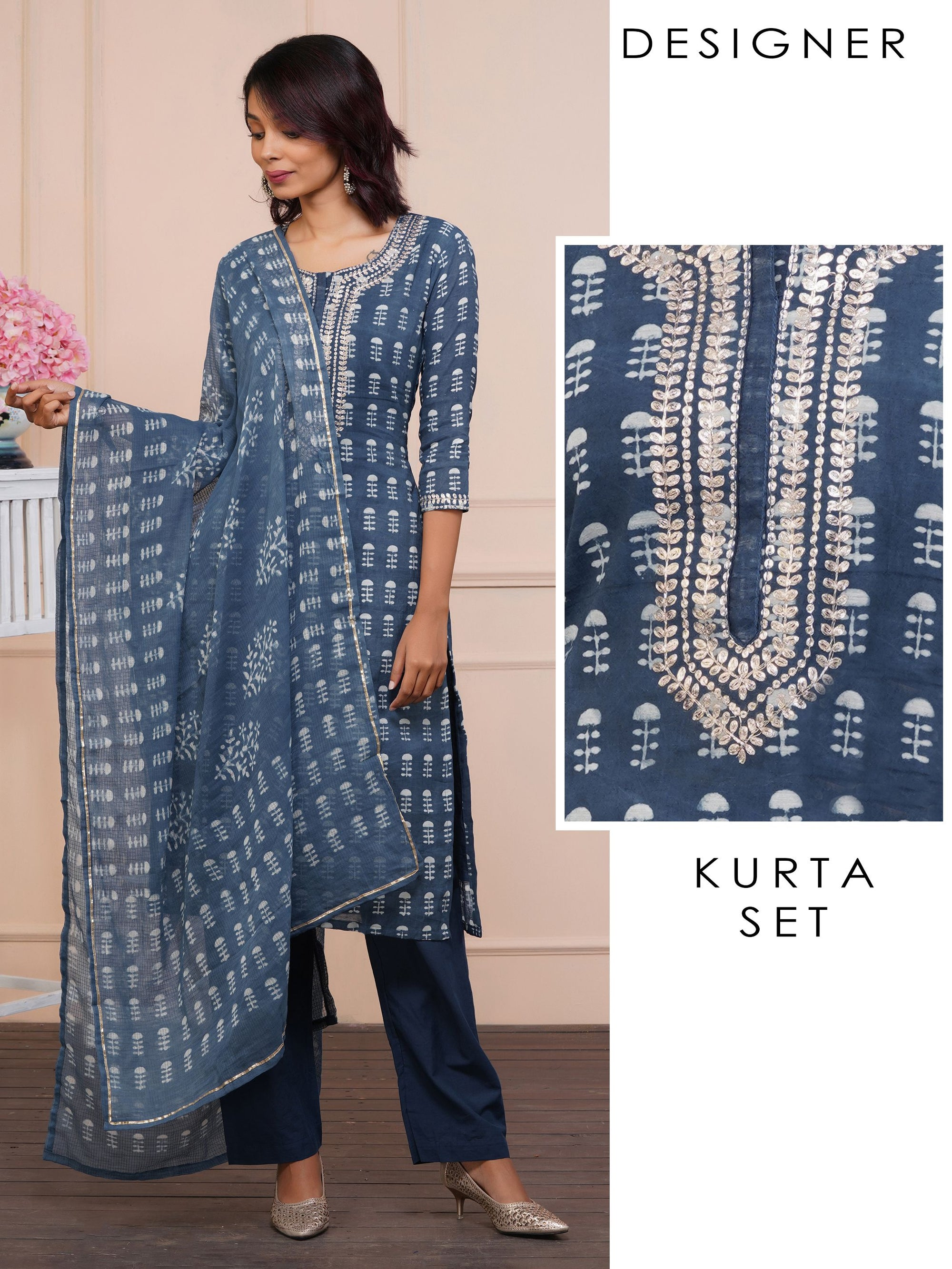 Cord Embroidered Abstract Printed Kurti, Solid Pant Set & Printed Dupatta - Navy Peony