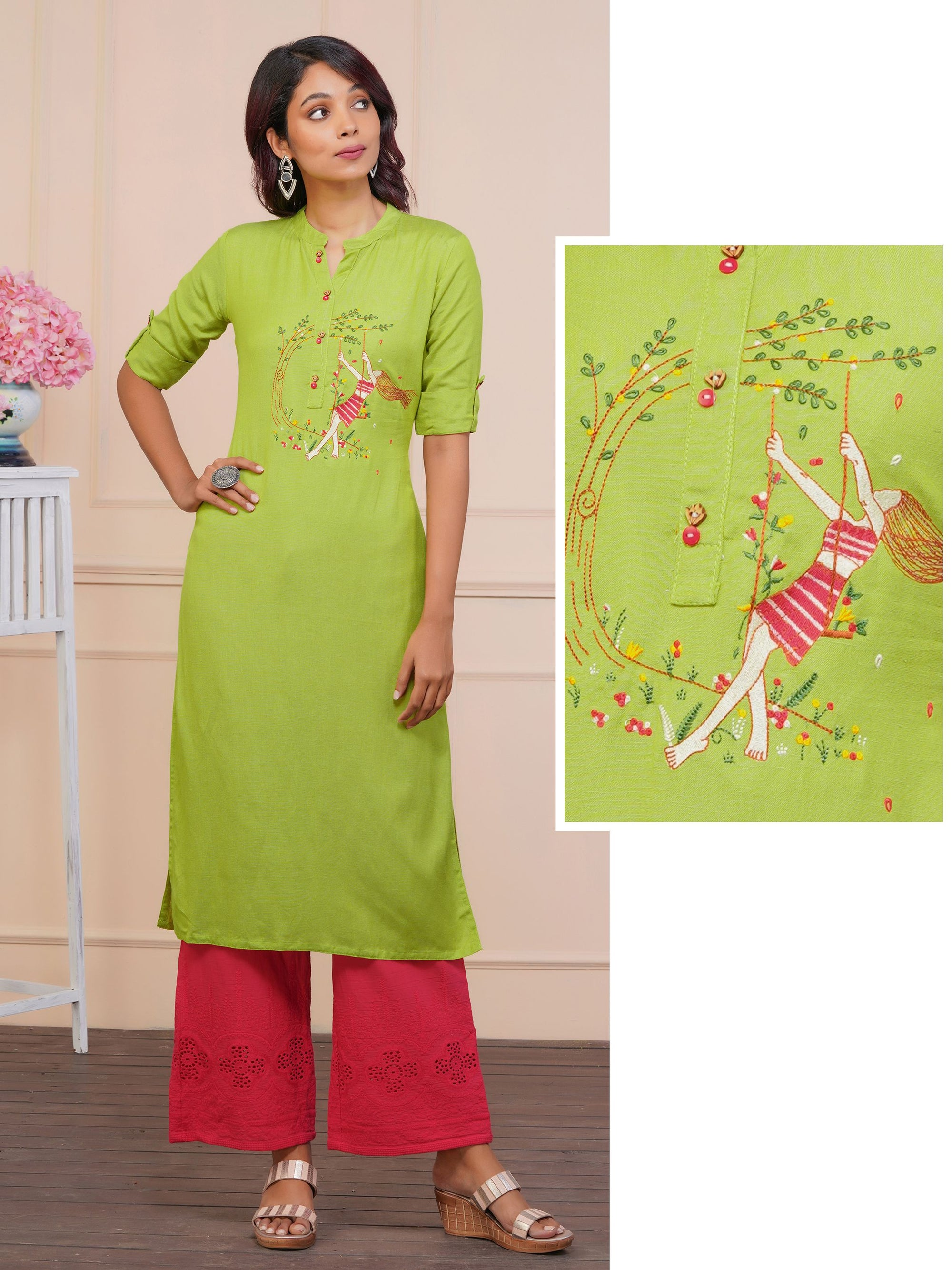 Girl Swinging And Floral Embroidered Kurta