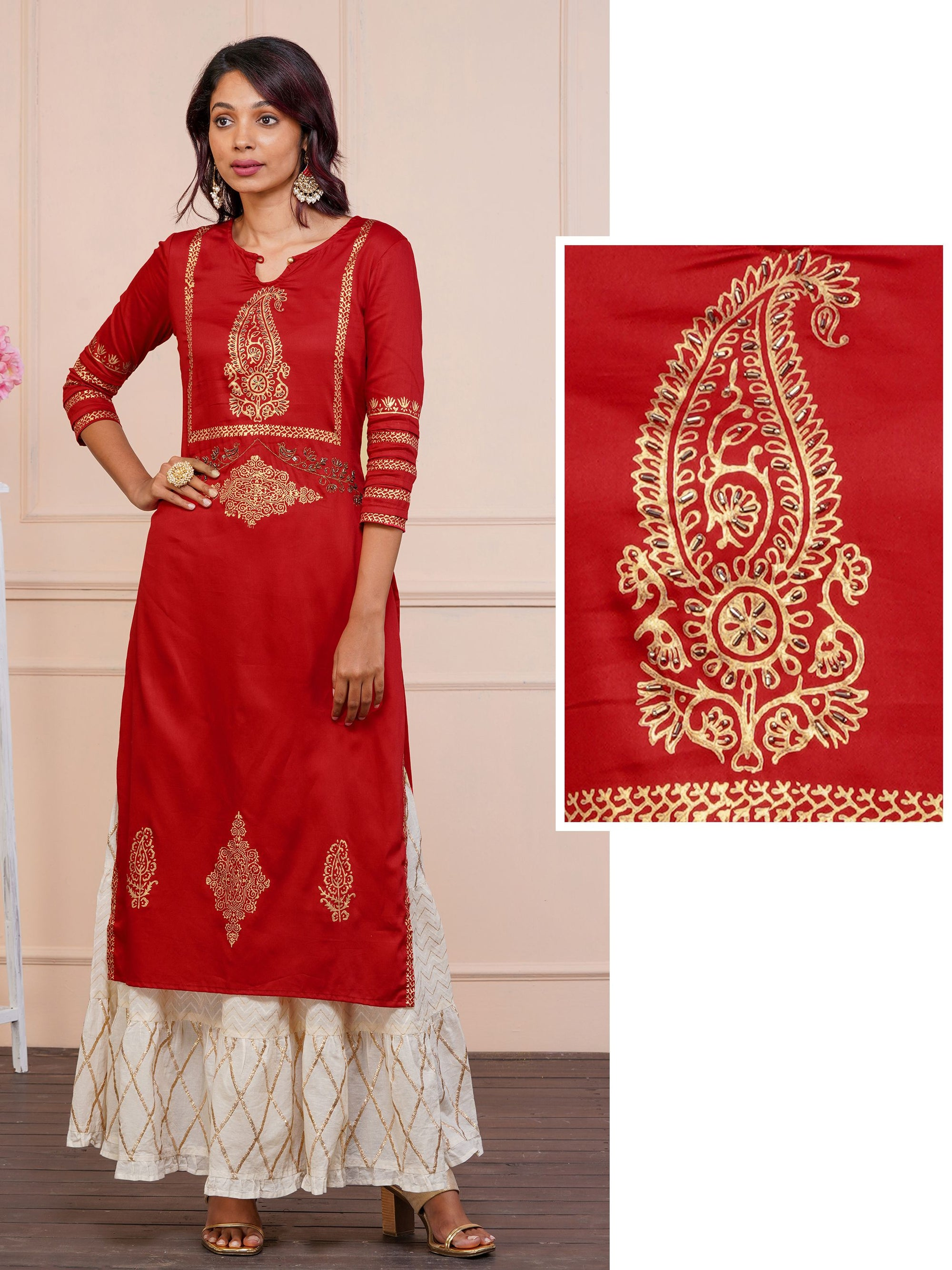 Royal Khari Print And Black Cutdana Work Kurta in Luxe Red