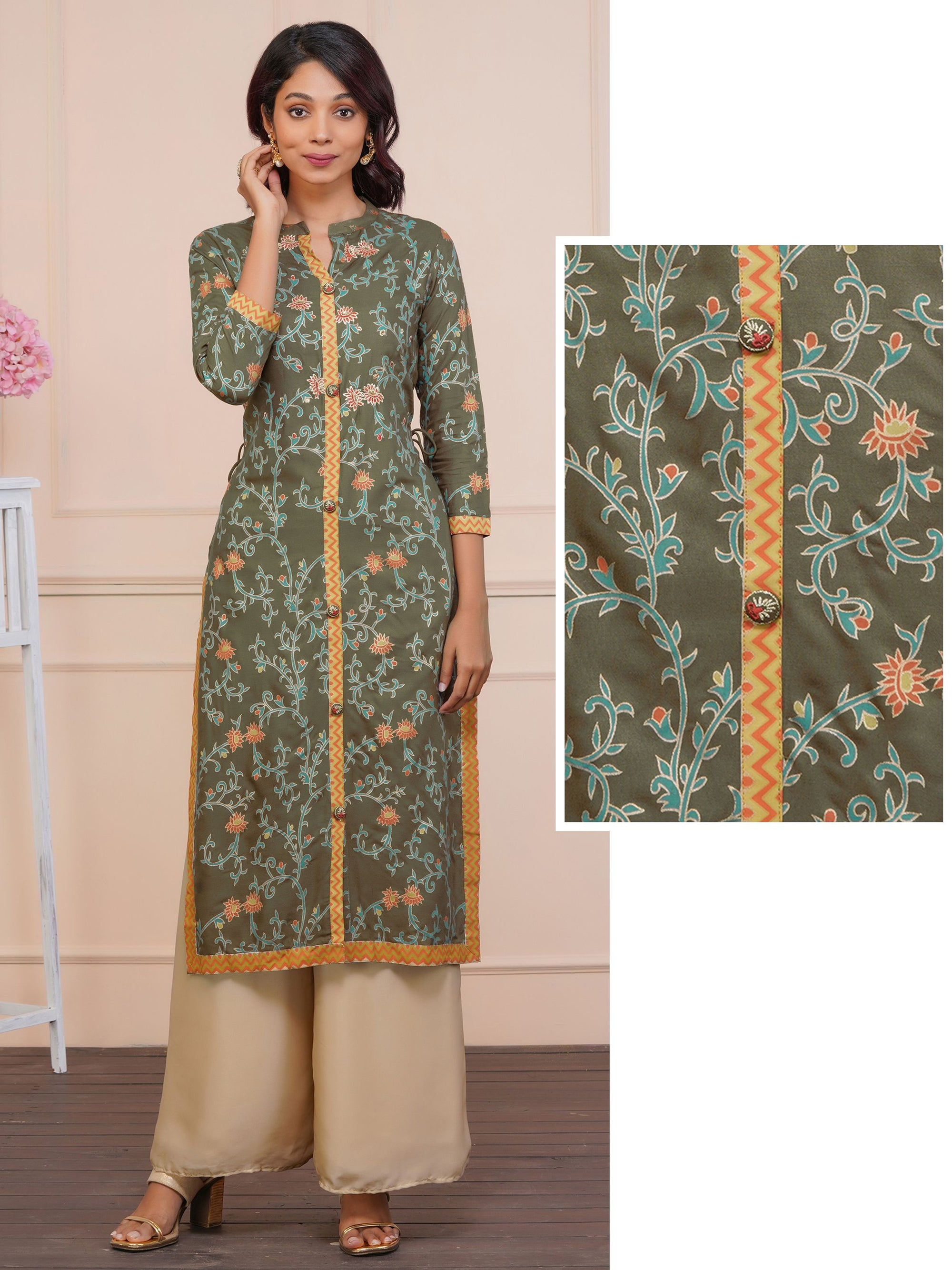 Zari Embroidery And Floral Gold Highlights Kurta