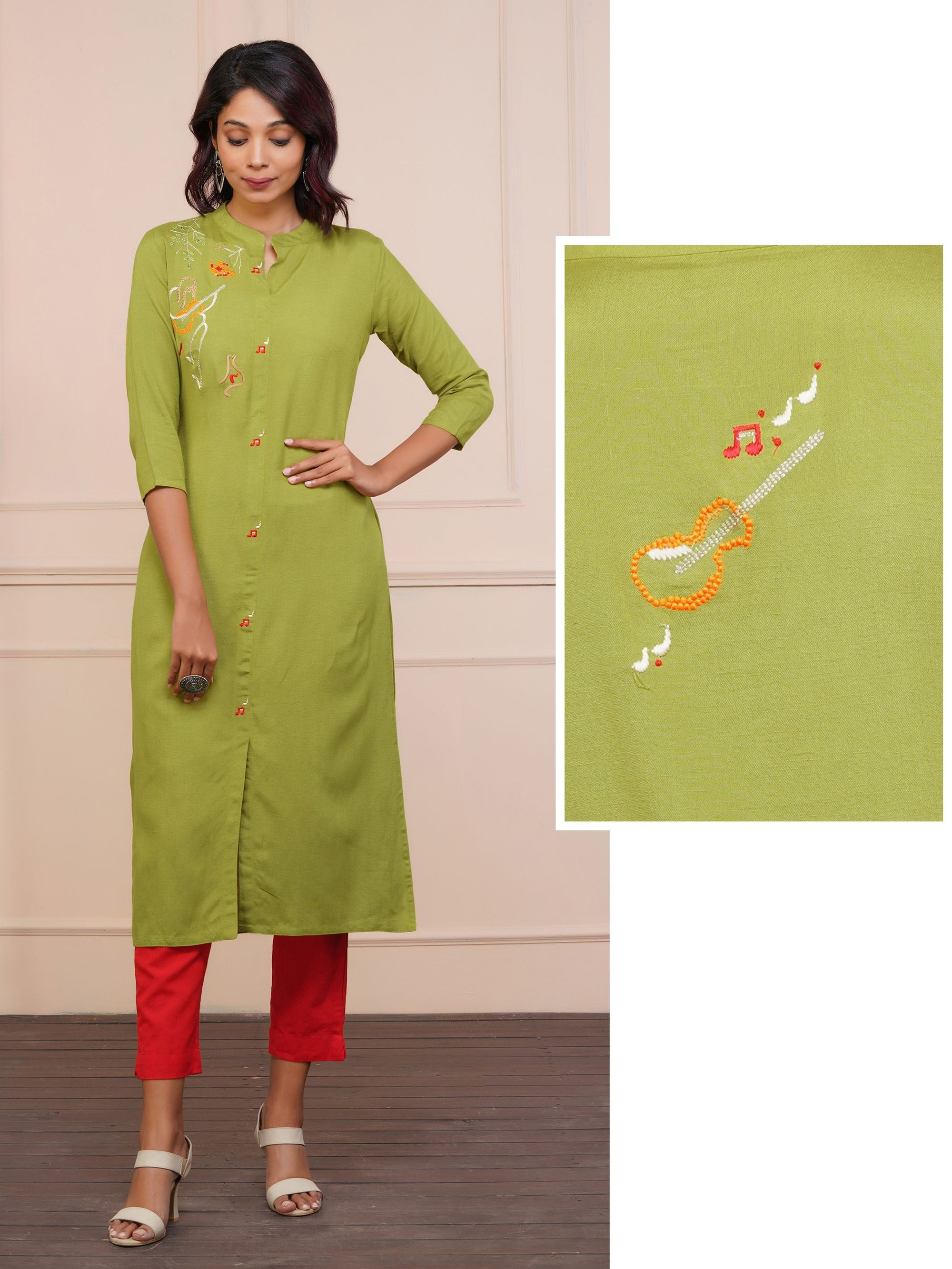 Guitar & Musical Note Embroidered Cotton Kurti - Chartreuse Green
