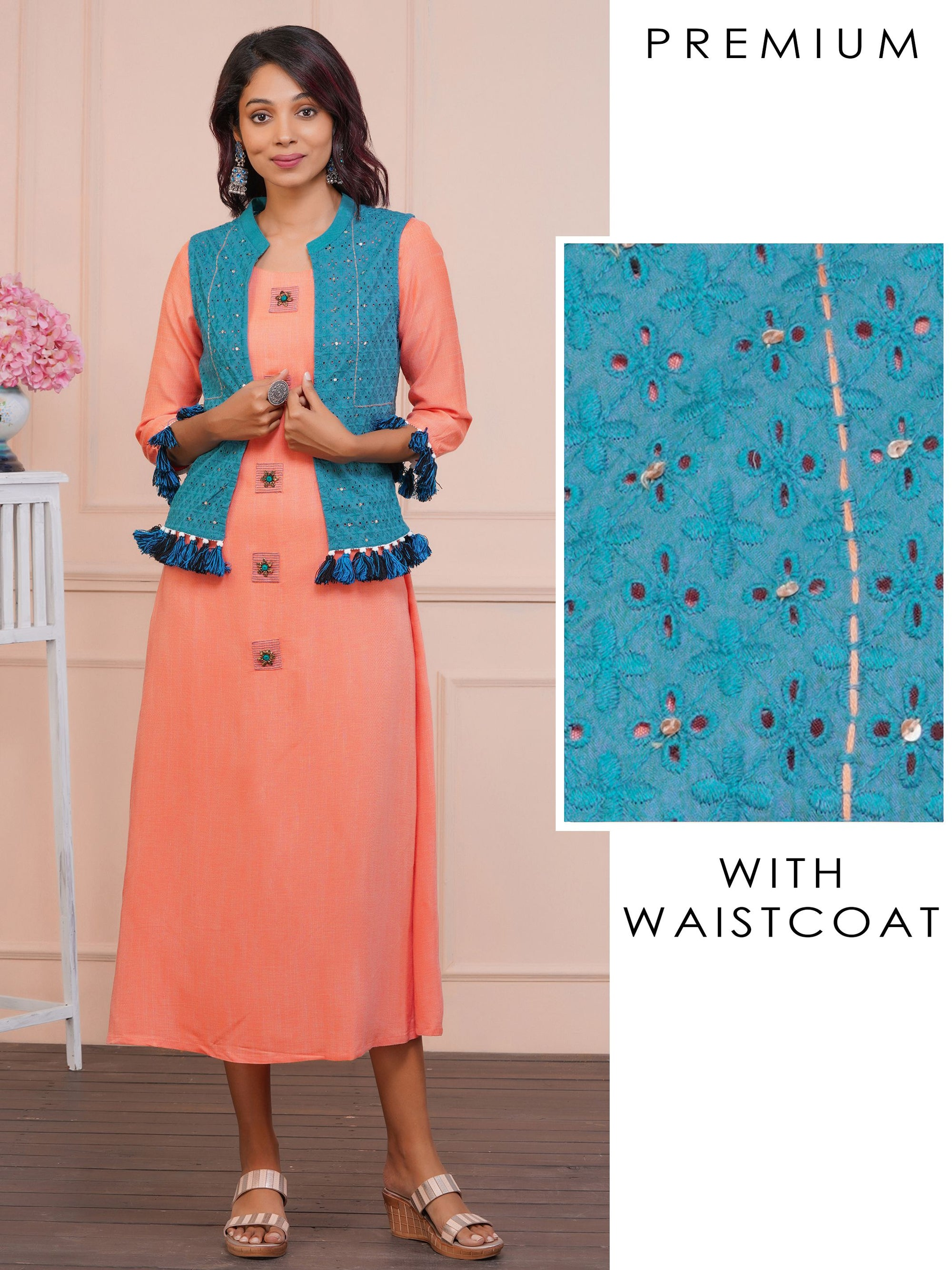 Handloom Print Peach Maxi And Hakoba Work Blue Waistcoat With Tassels