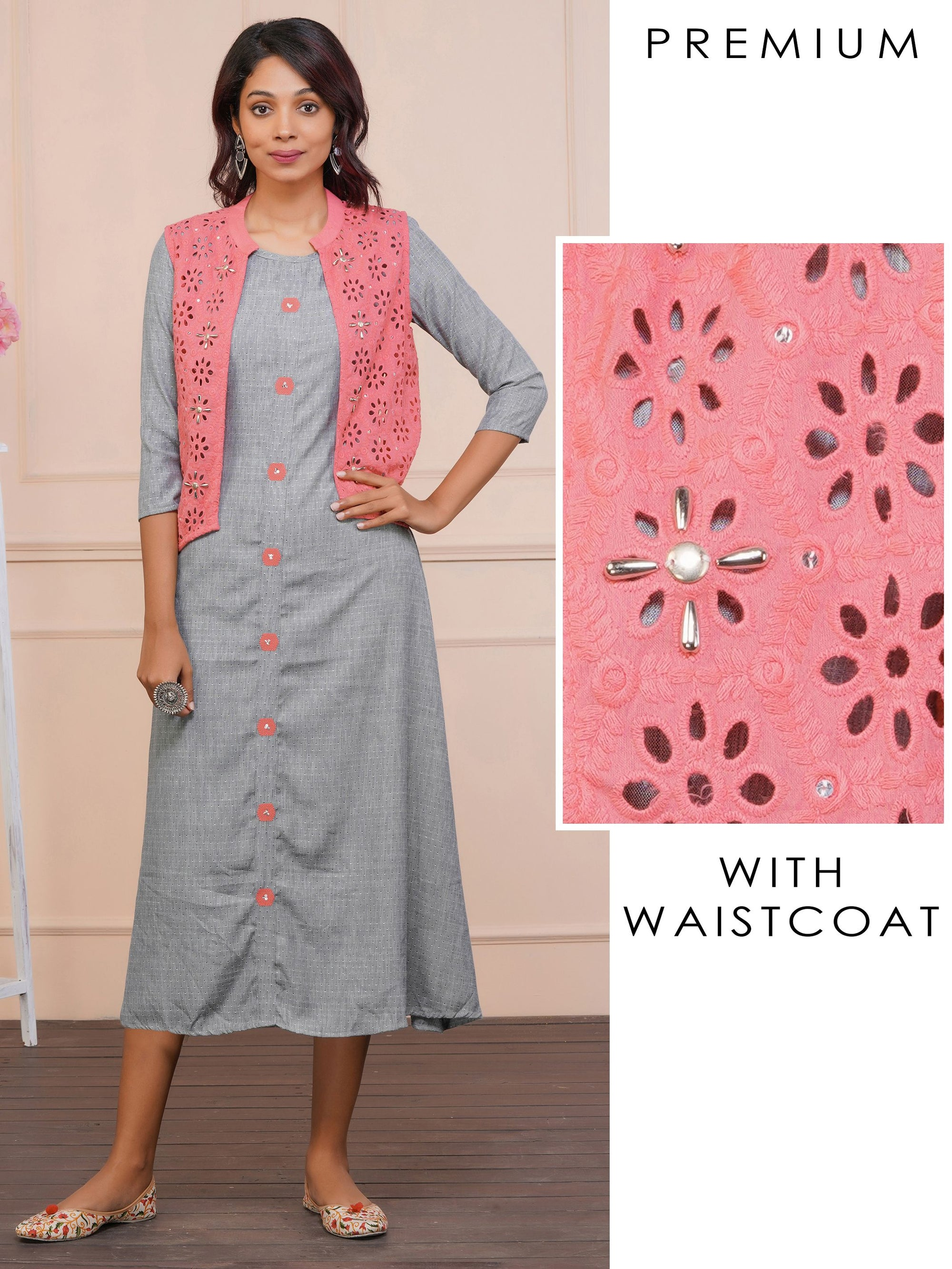 Minimal Self Print Grey Maxi And Hakoba Work Pink Waistcoat – Grey