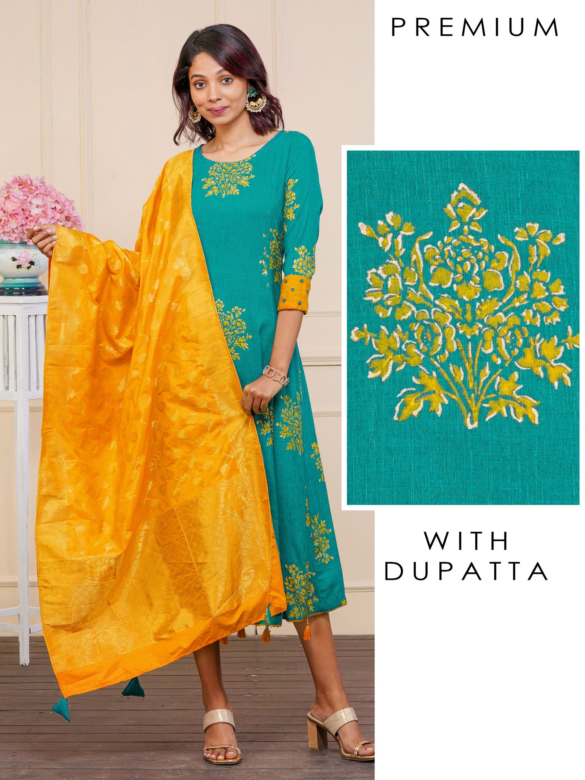 Floral Printed Princess Cut Kurti & Brocade Dupatta Set – Turquoise Blue