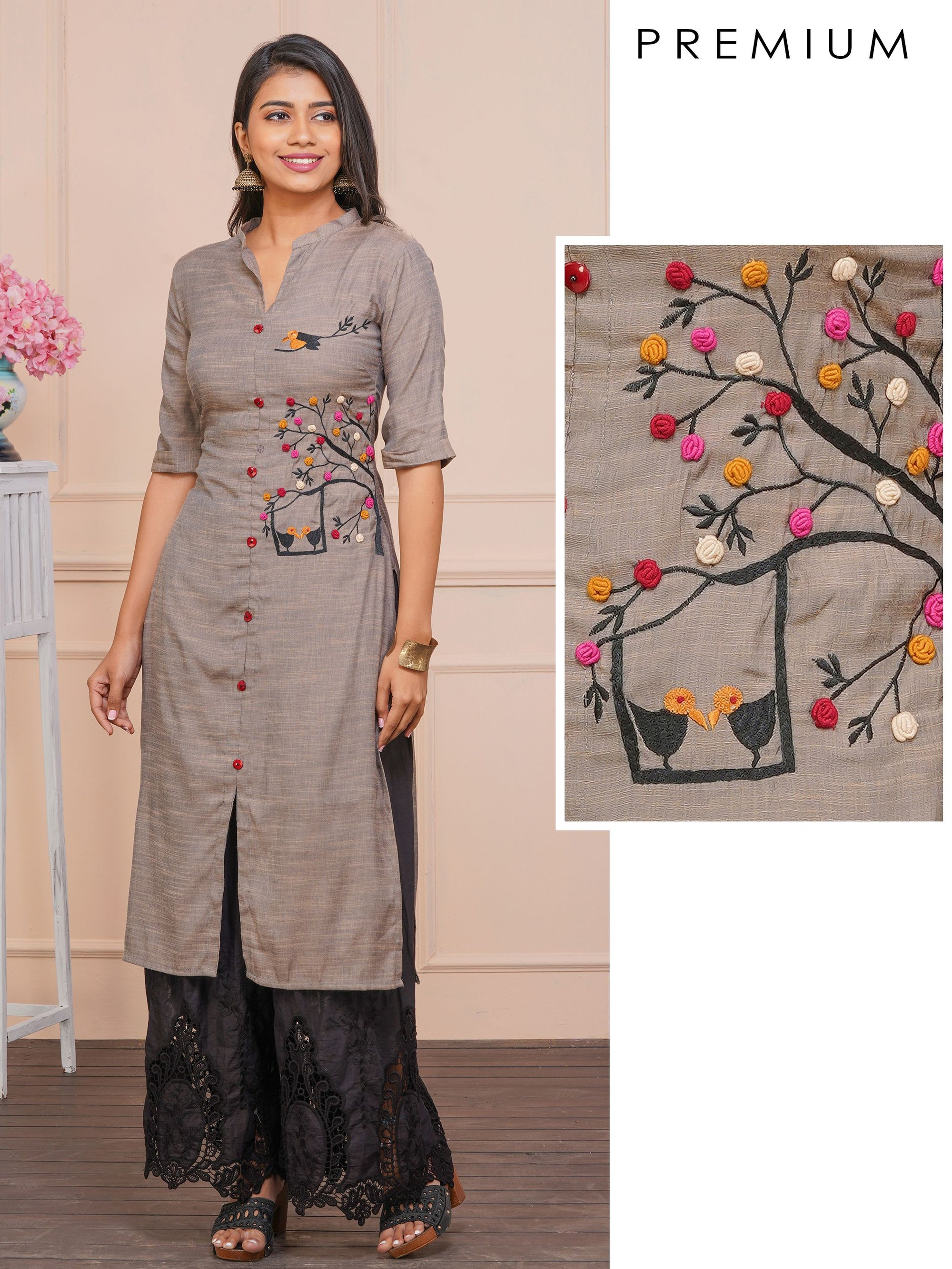 Love Birds & Tree Embroidered Poly Cotton Kurti