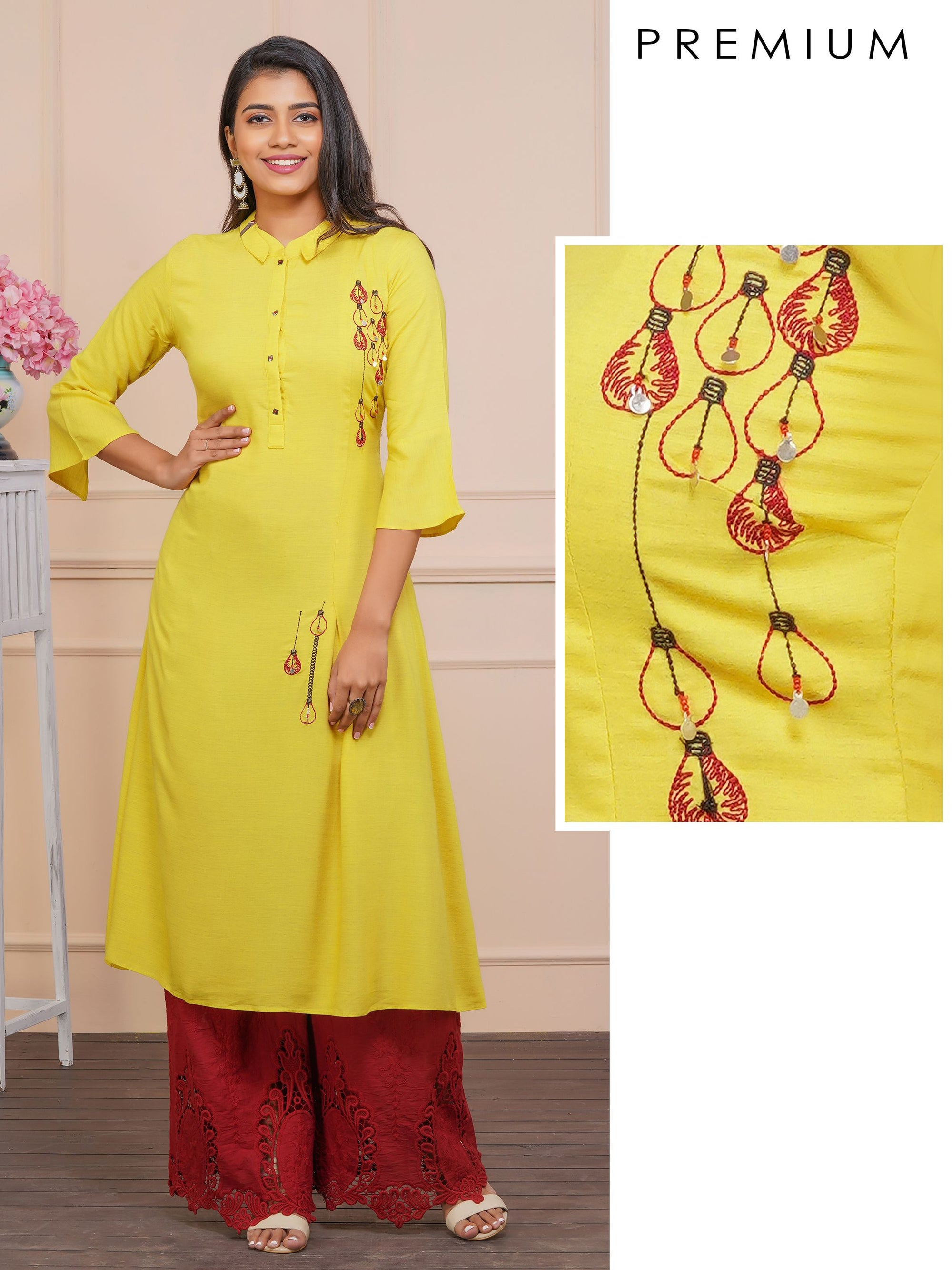 Quirky Bulb Embroidered A-Line Kurti