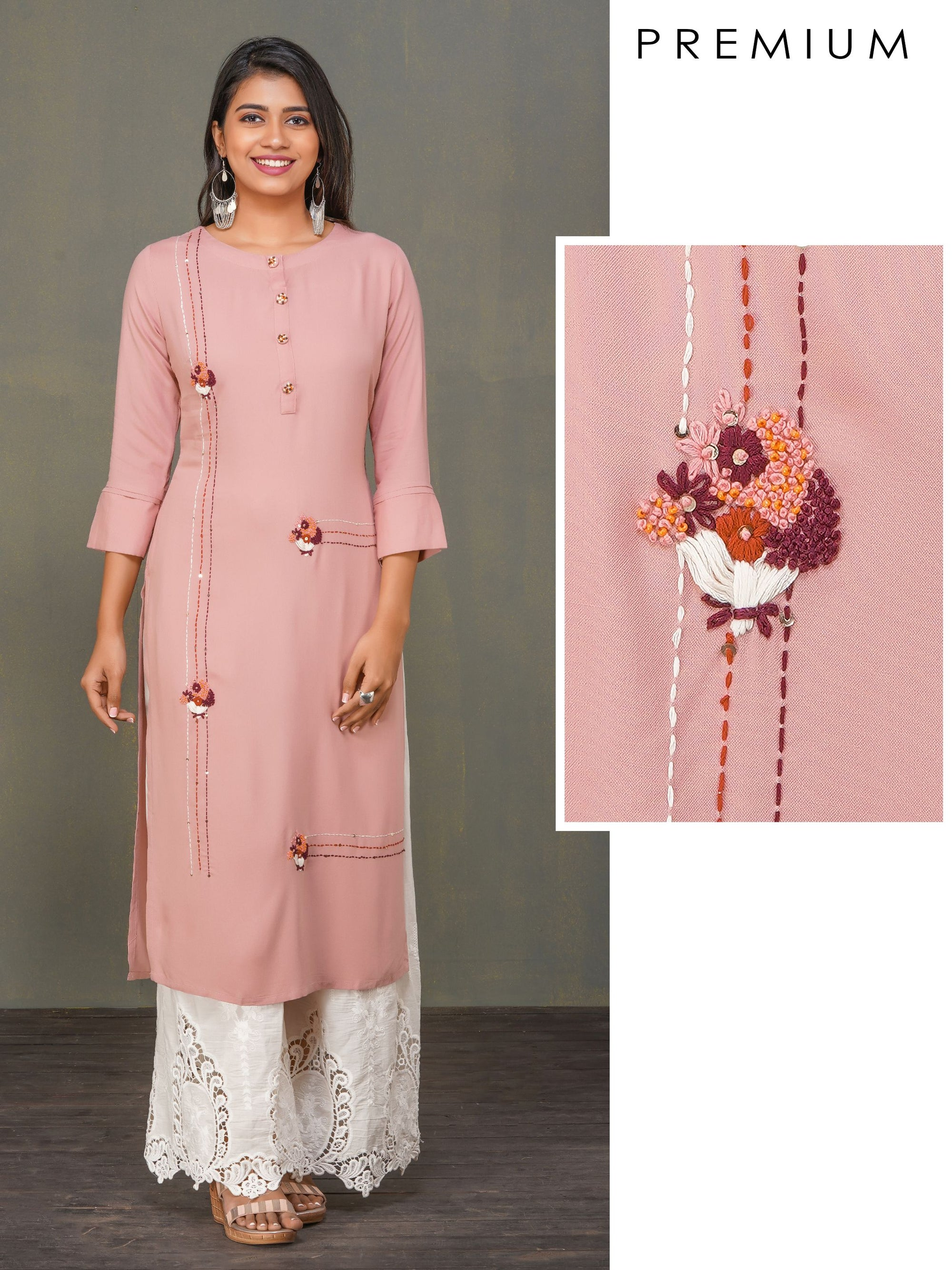Minimal Bouquet Embroidered Premium Rayon Kurti
