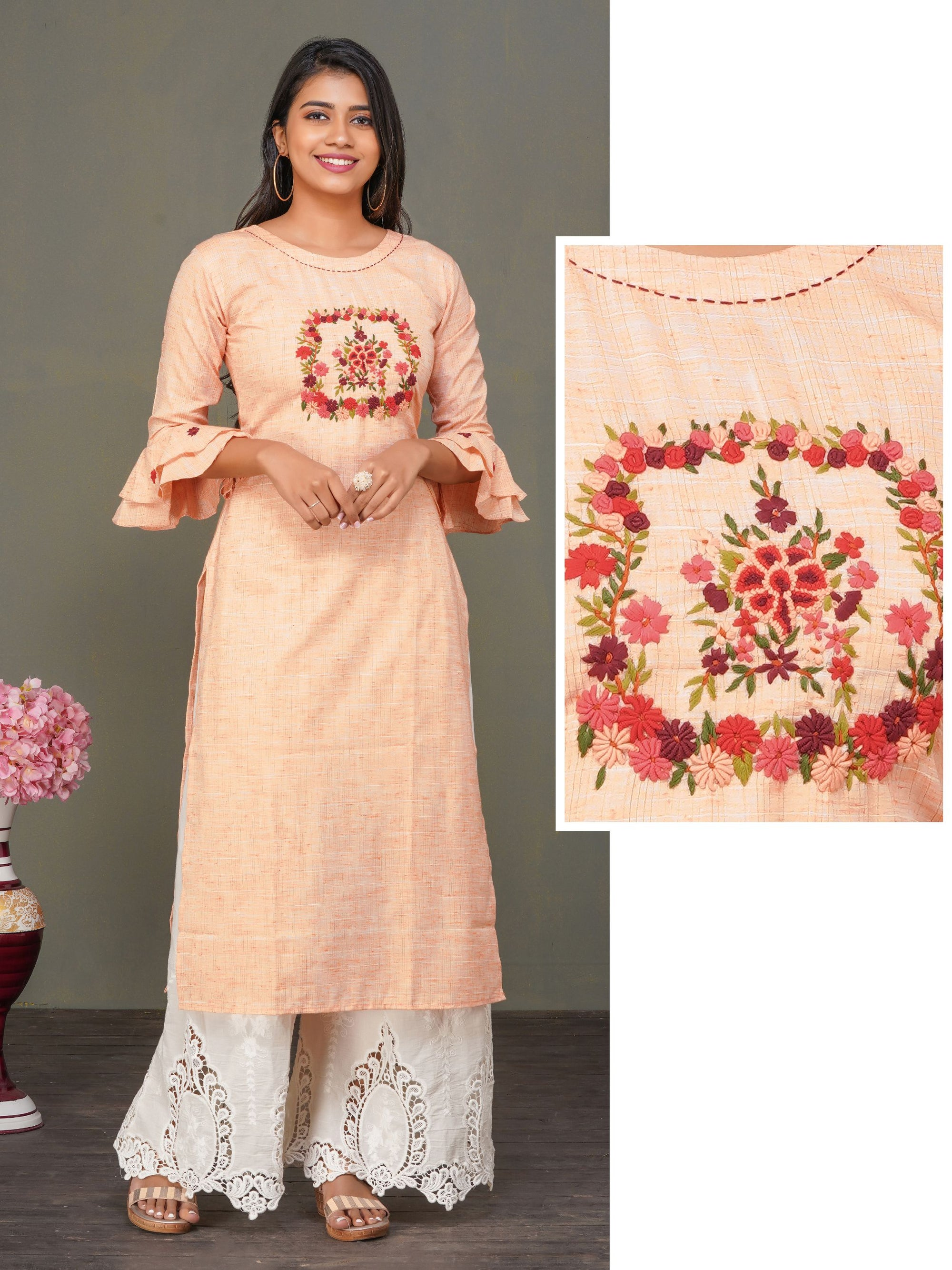 Bullion Knot Floral Embroidered Kurti - Peach