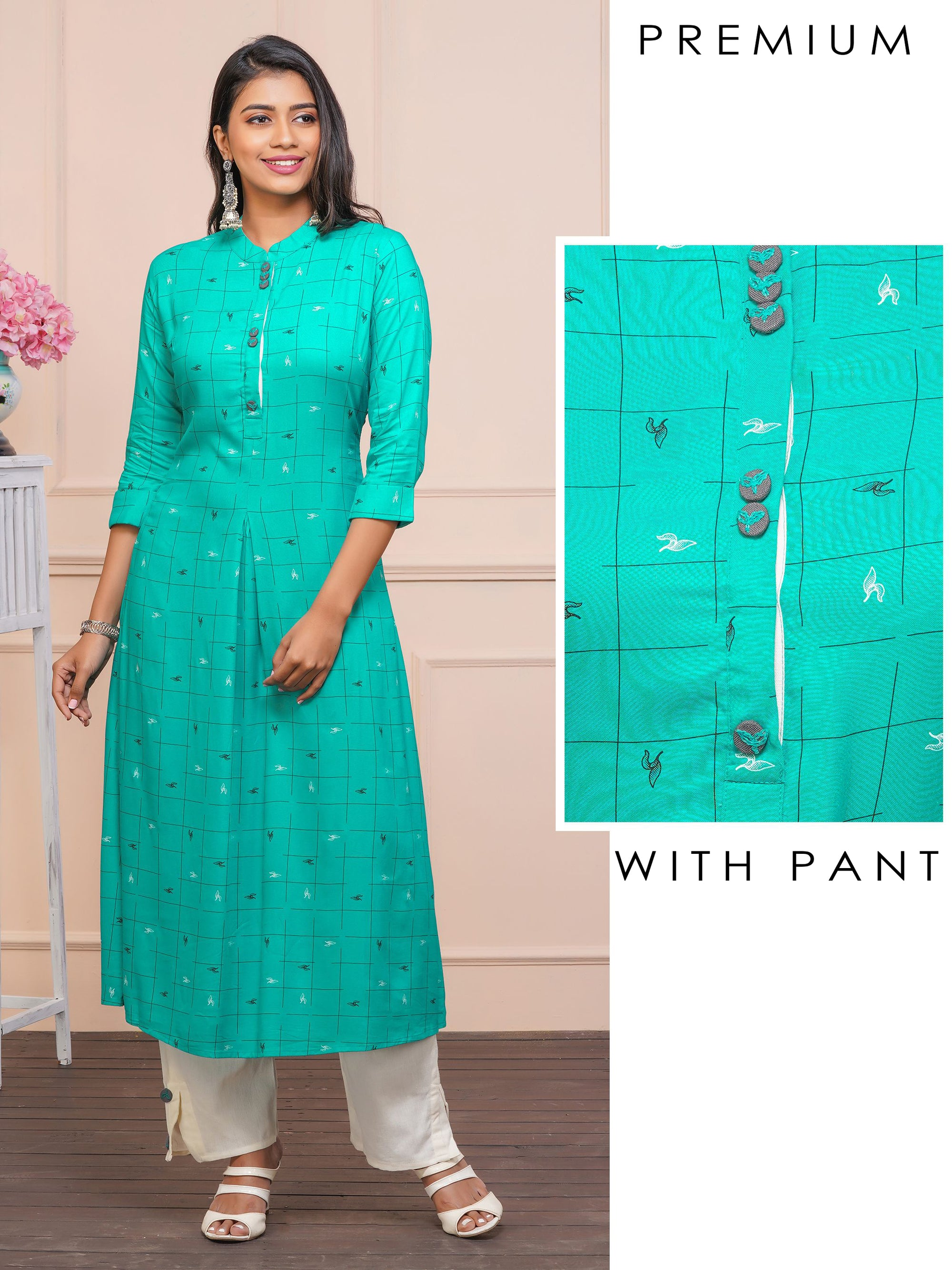 Minimal Leaf Printed Kurti with Solid Pant Set