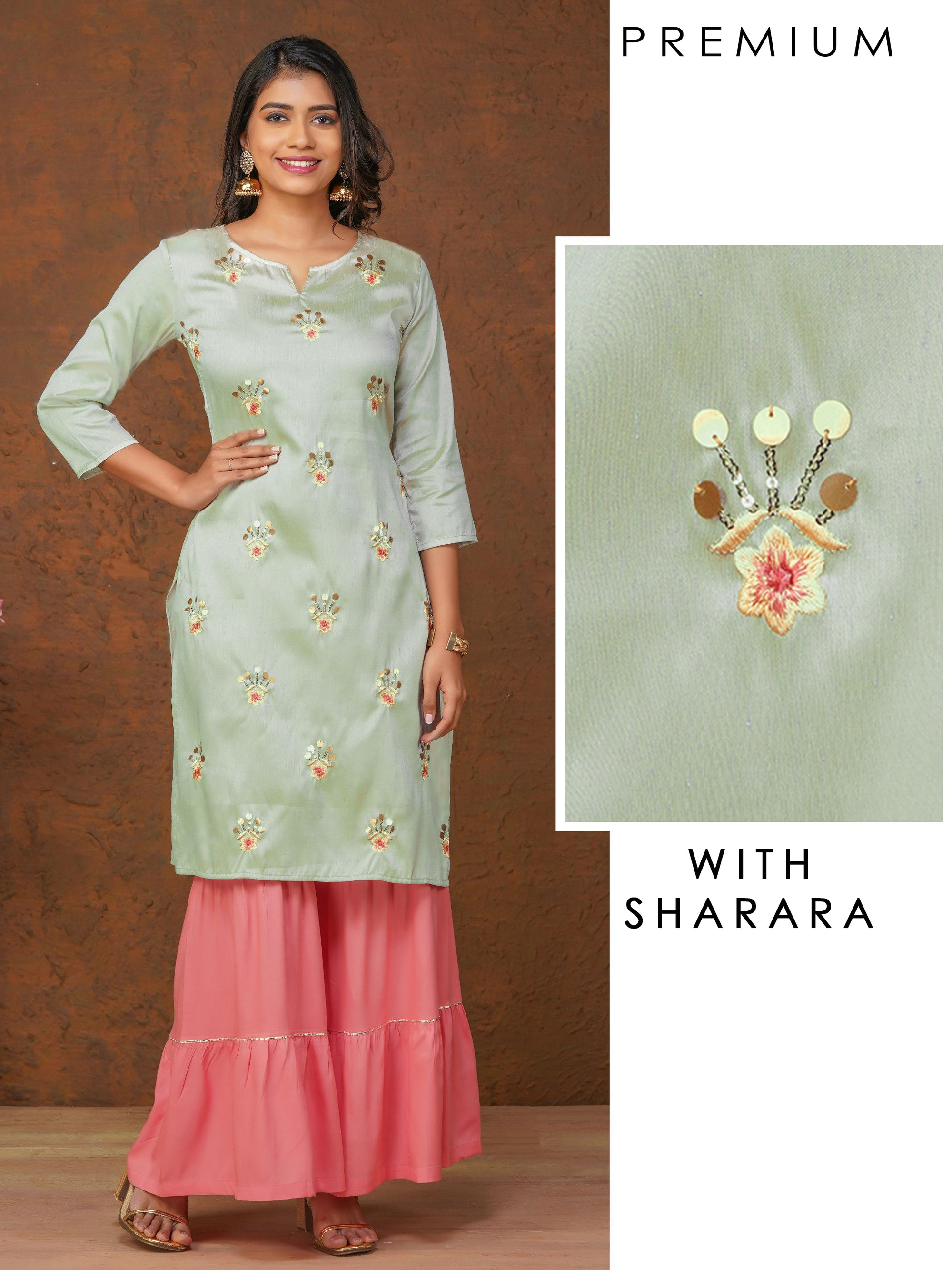 Sequins & Floral Embroidered Kurti with Gota Detailed Sharara Set