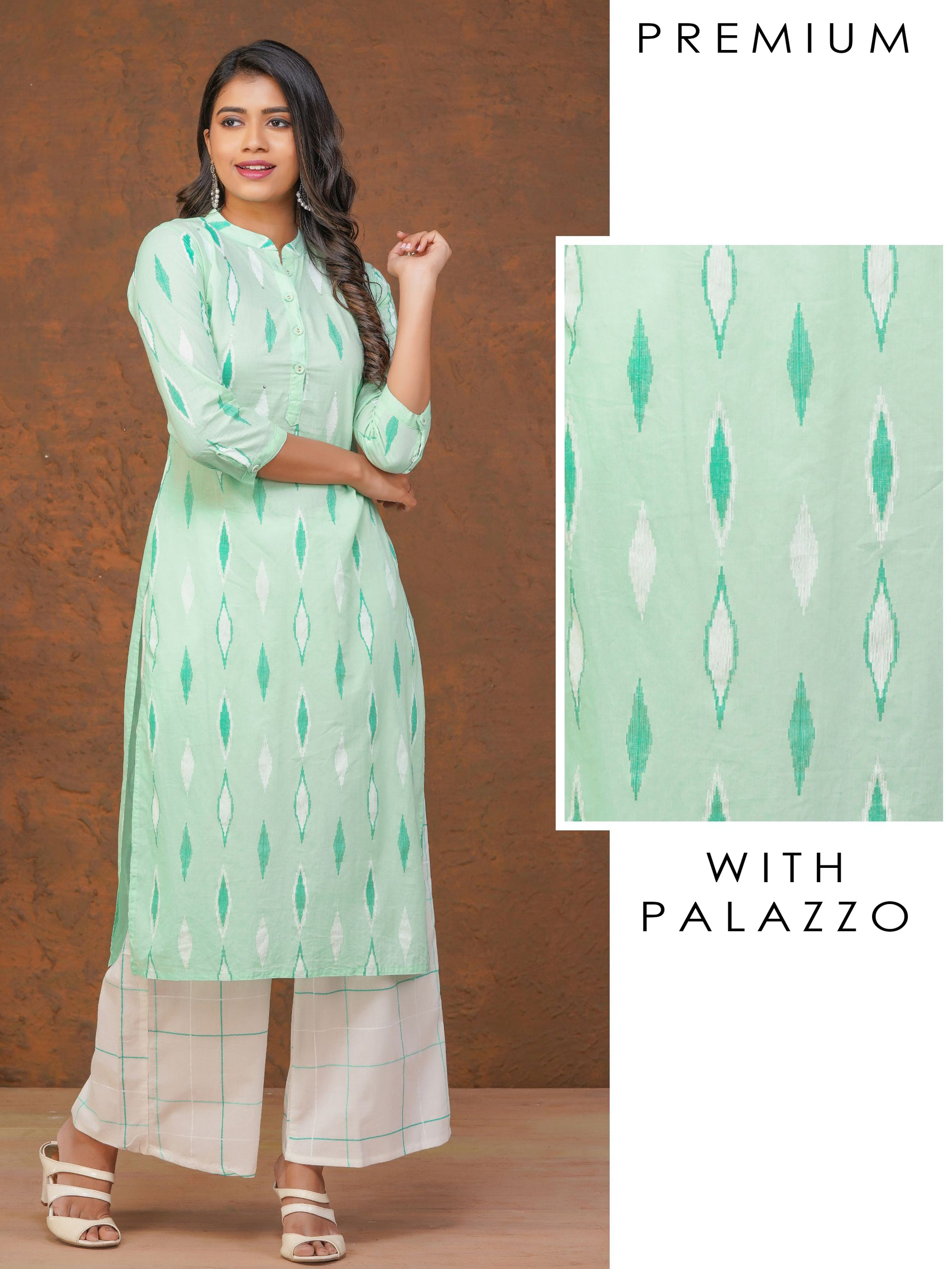 Quirky Printed Kurta With Checkered Palazzo Set