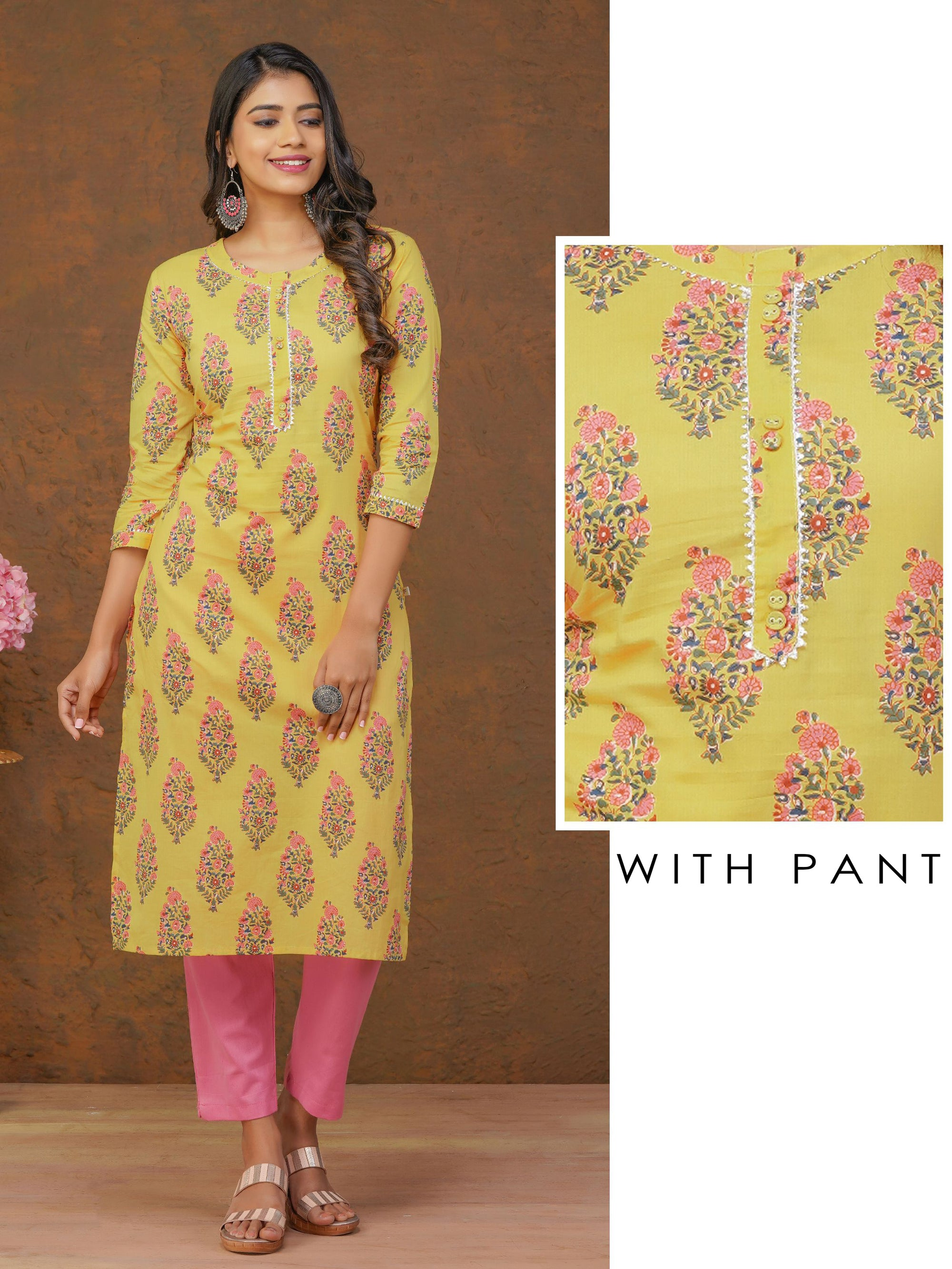 Floral Printed Kurta With Gota Temple Lace Work And Pant Set
