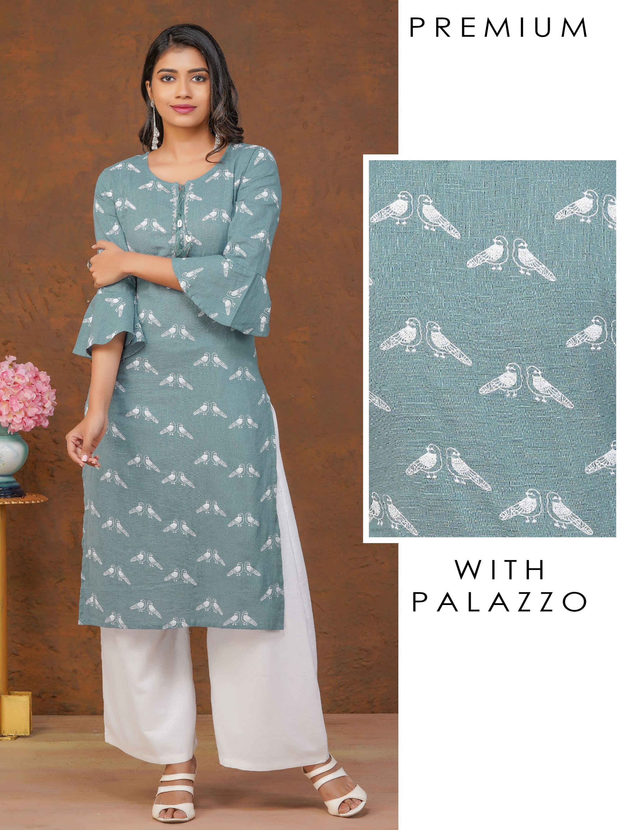Bird Prints, Ruffle Sleeves Kurta With Monotone Palazzo Set