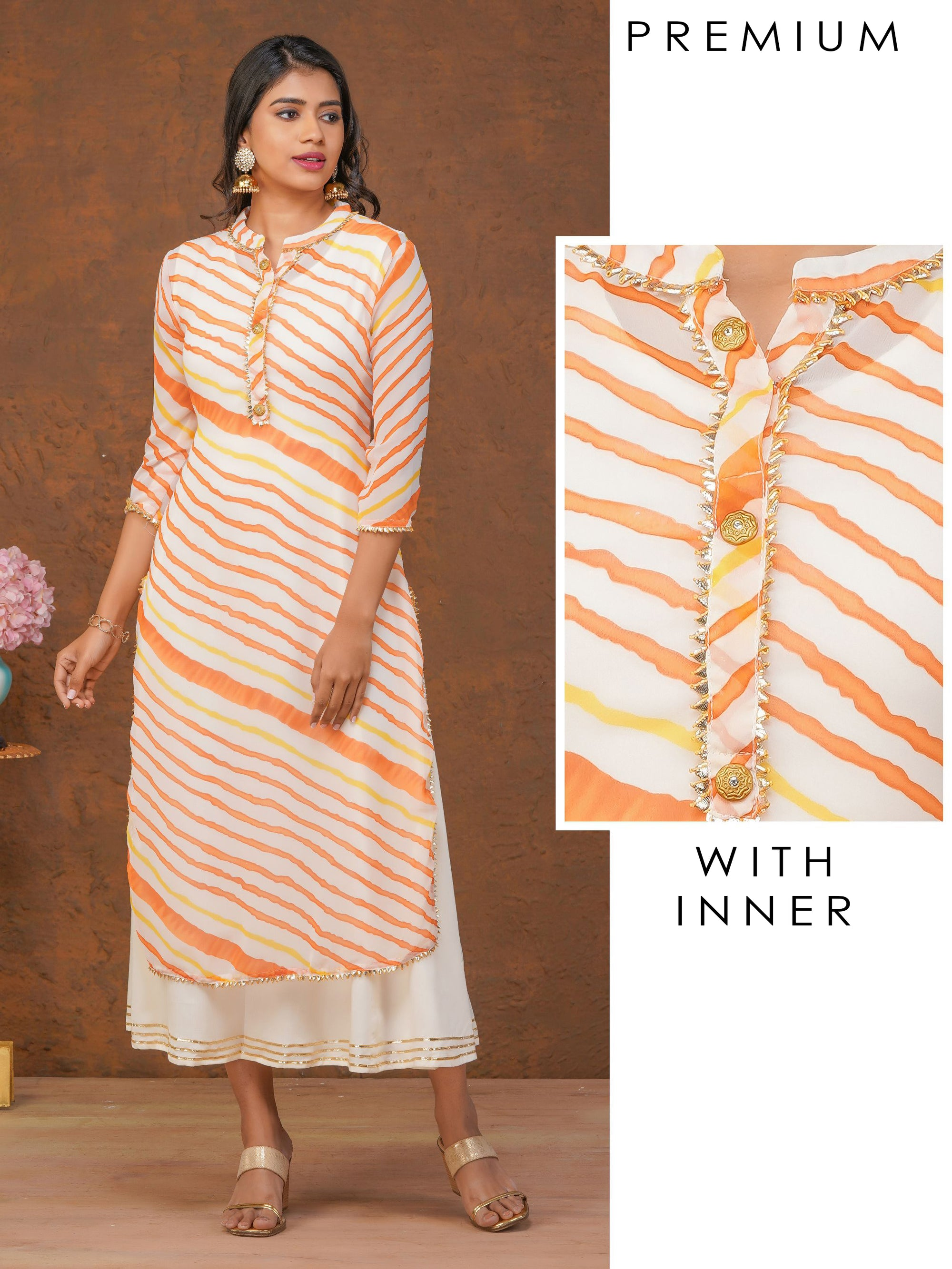 Lehariya Printed Kurti with Gota Enhanced Long Inner – Orange