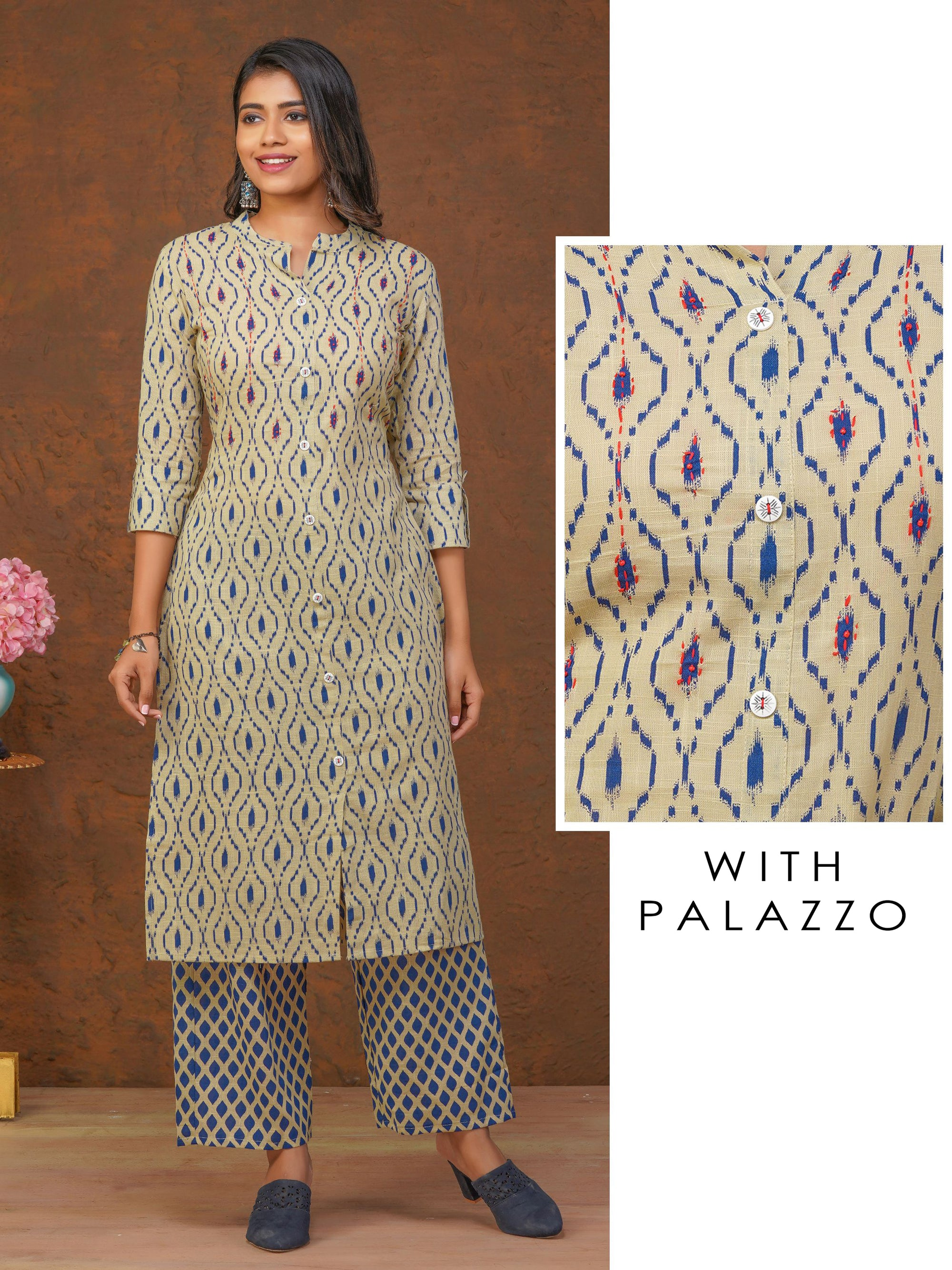 Abstract Printed Kurti with Diamond Printed Palazzo Set