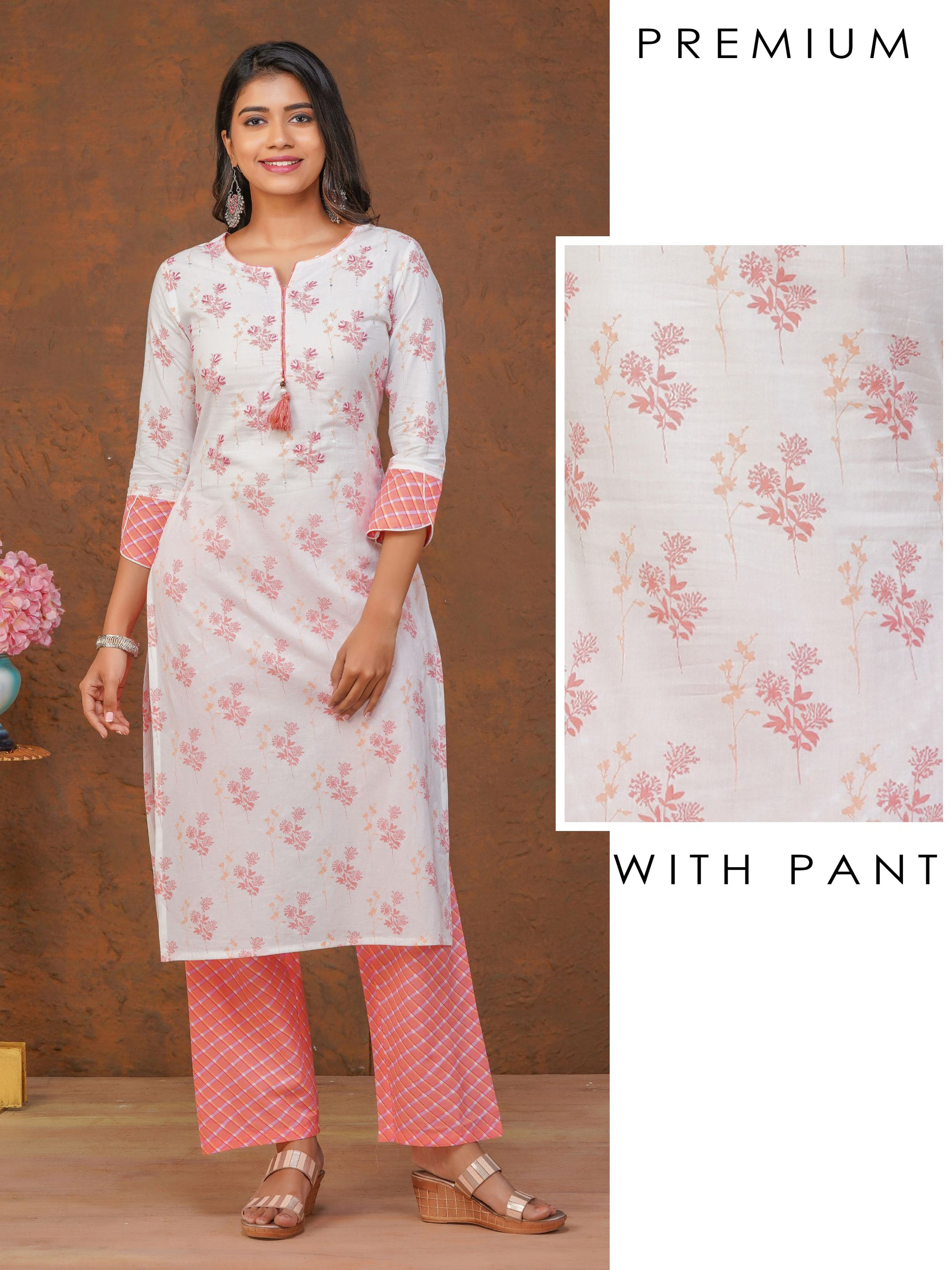 Elegant Floral Printed Kurti with Diamond Printed Pant Set