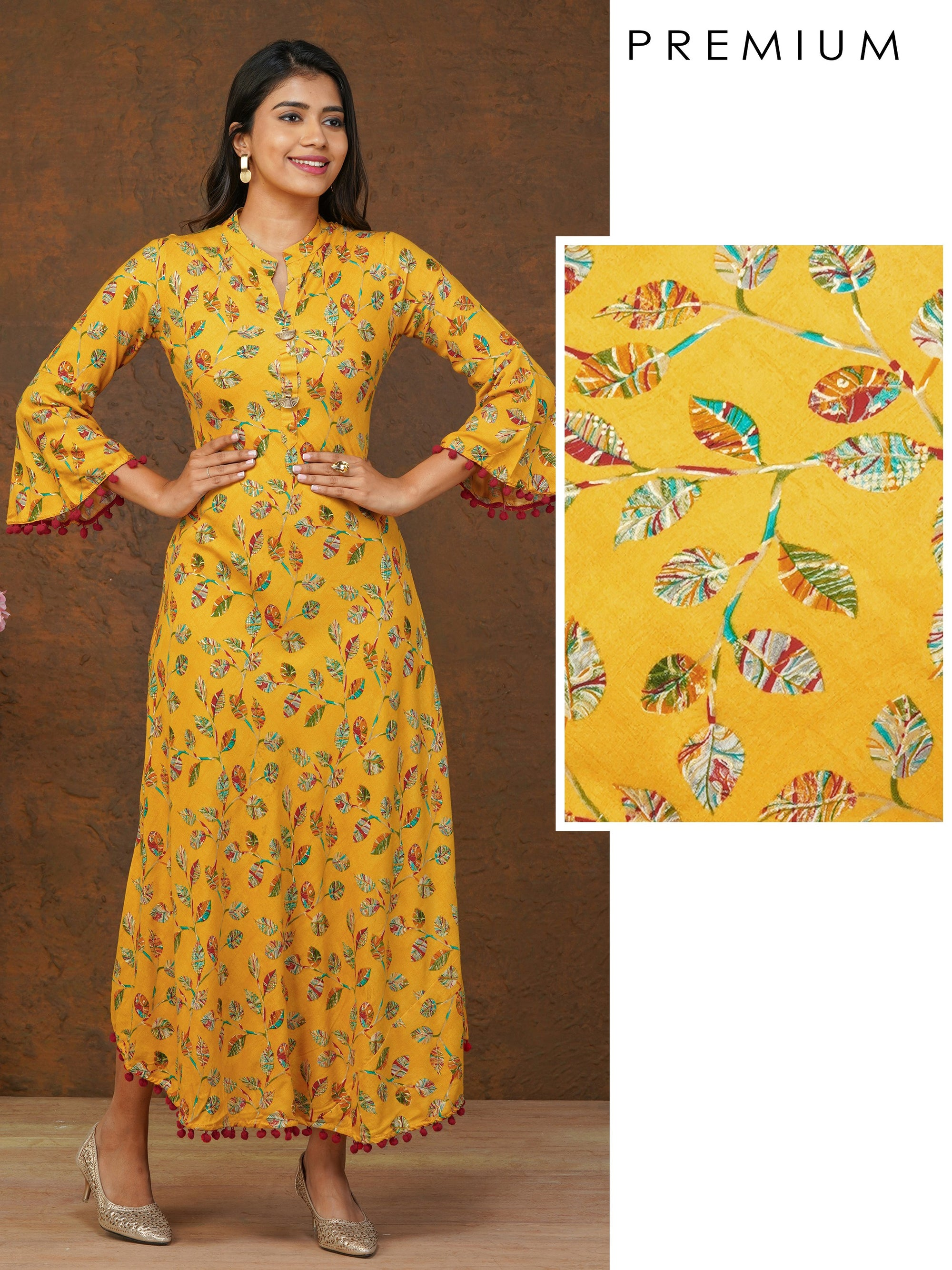 Multi Color Leaf Printed Bias Cut Maxi – Yellow