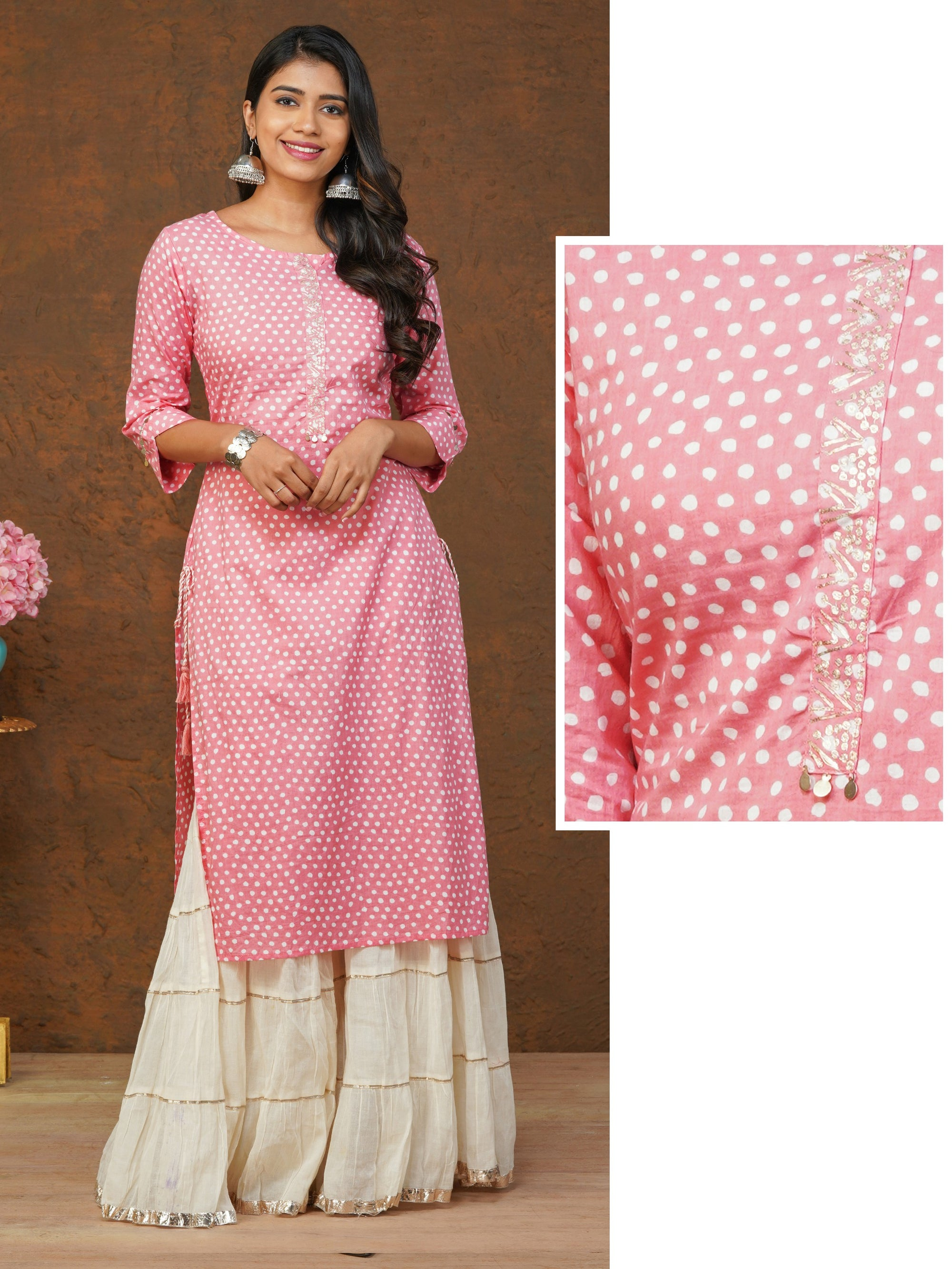 Zari Embroidered & Dotted Printed Cotton Kurti – Pink