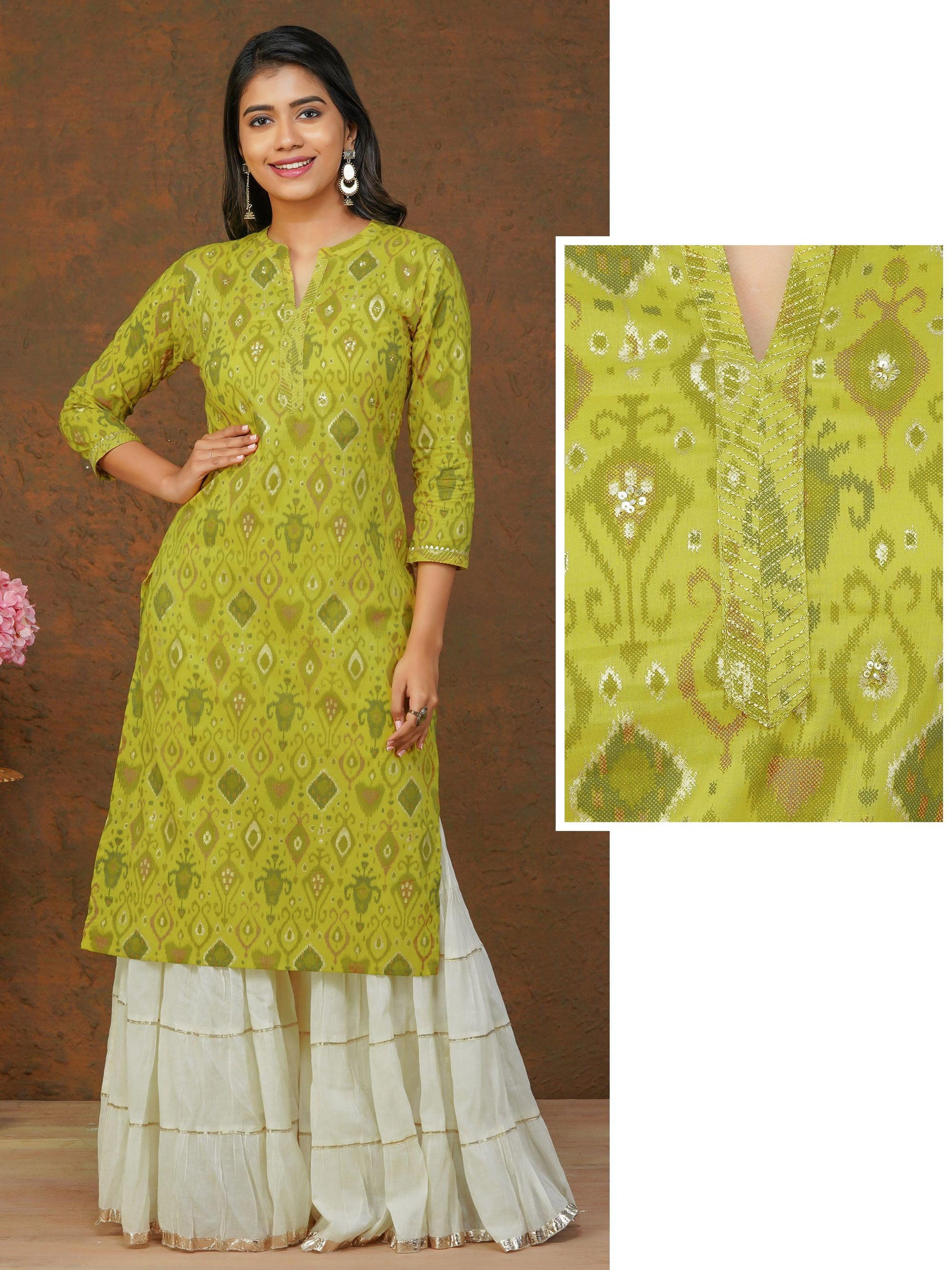 Abstract Printed Sequins Embellished Kurti