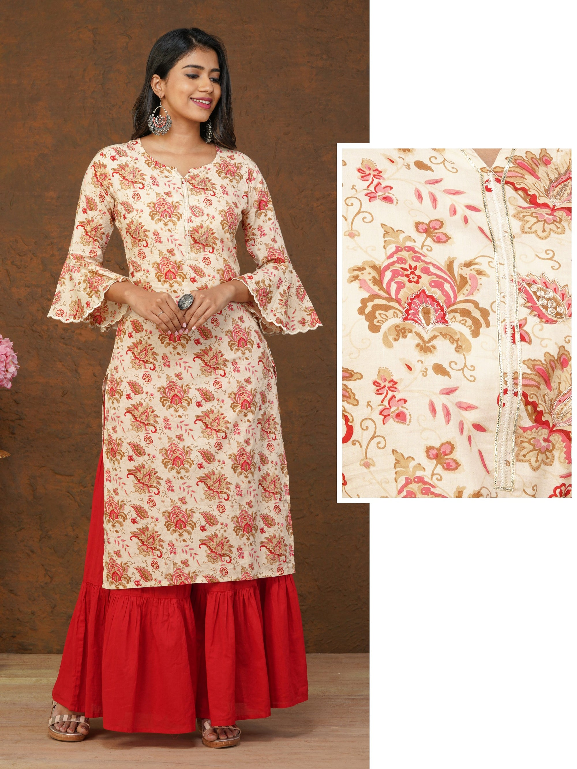 Ethnic Floral Printed & Cord Embroidered Kurti