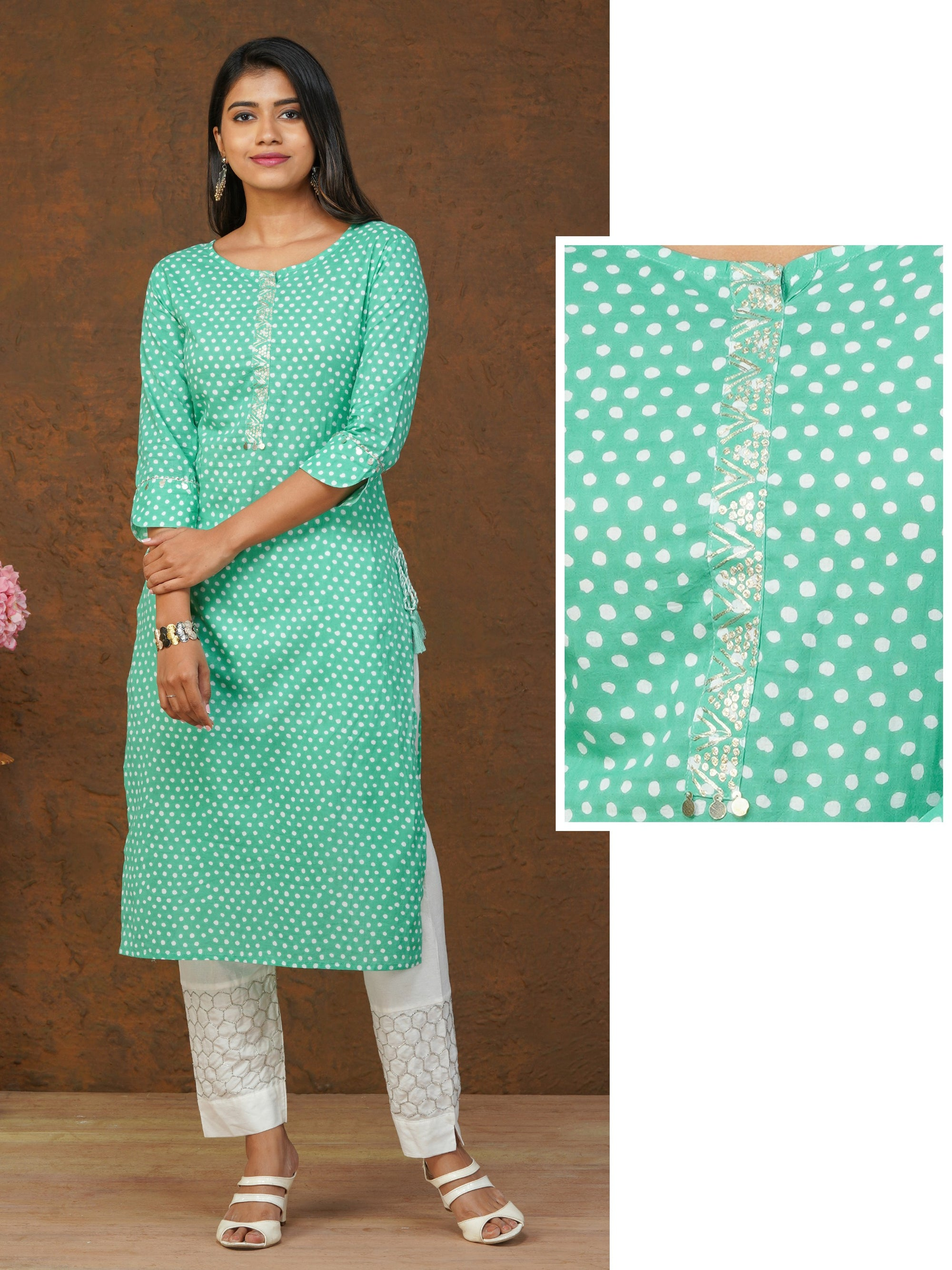 Zari Embroidered & Dotted Printed Cotton Kurti – Aqua Green