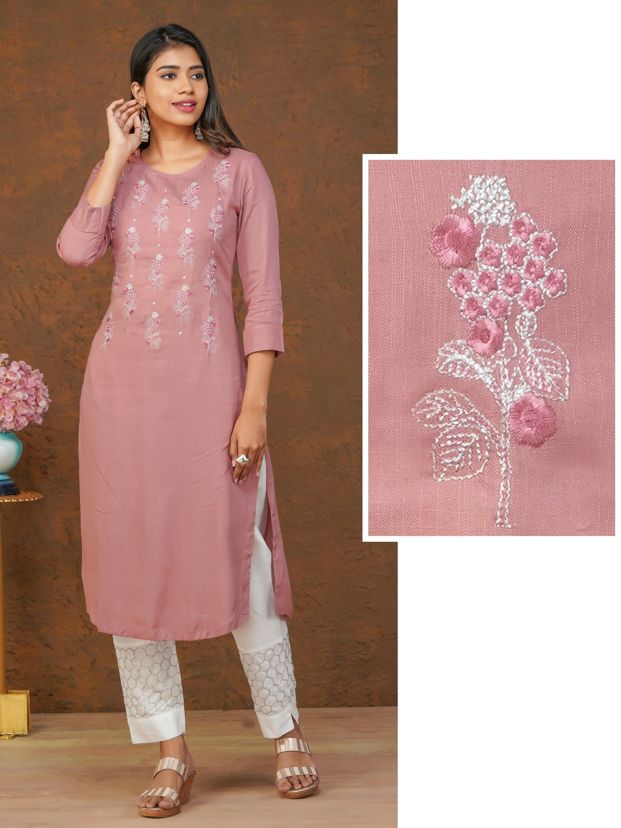Silver Zari & Self Embroidered Cotton Kurti – Dusty Pink