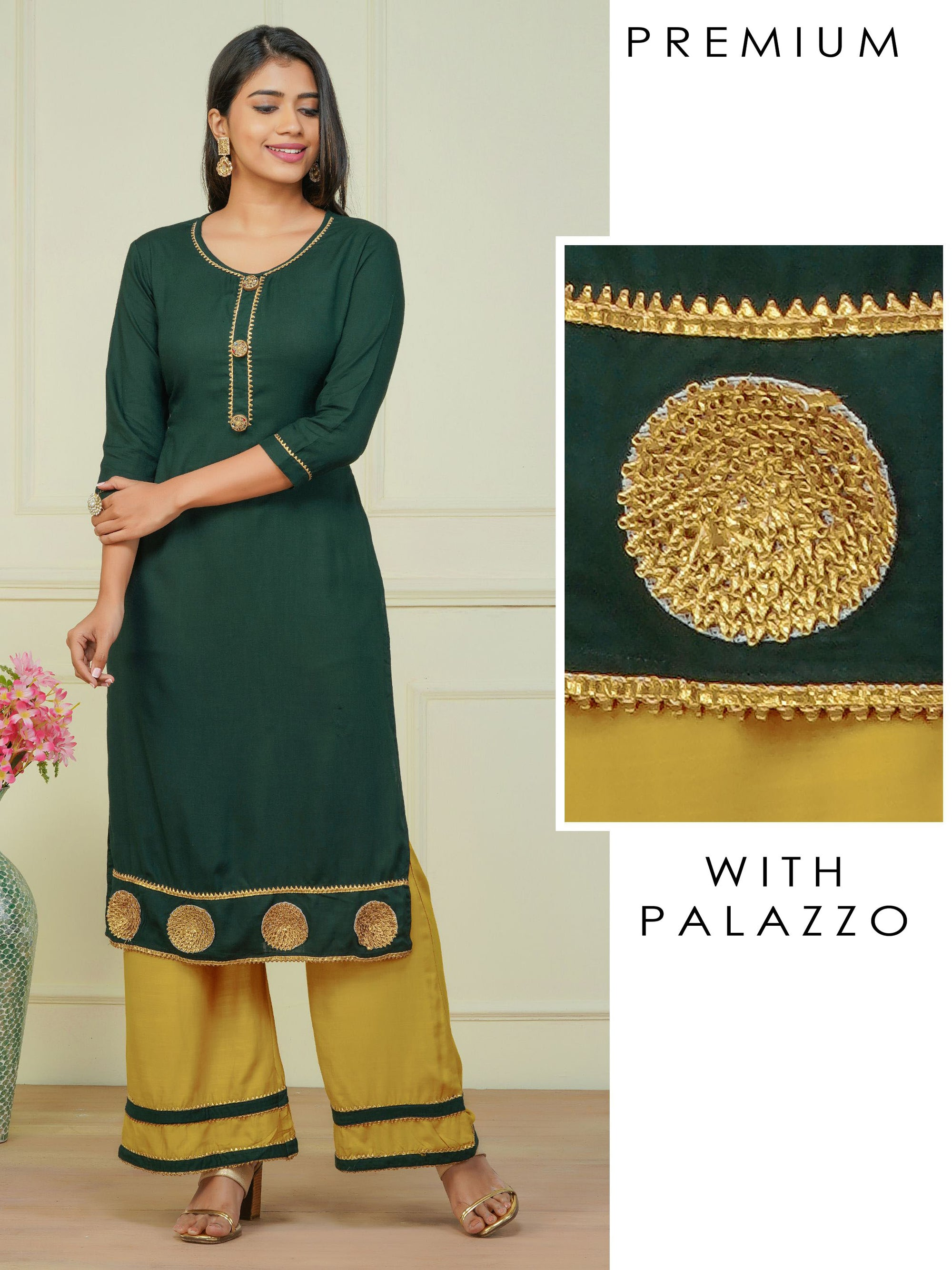 Designer Buttoned Kurti with Gota Embeliished Palazzo Set - Bottle Green