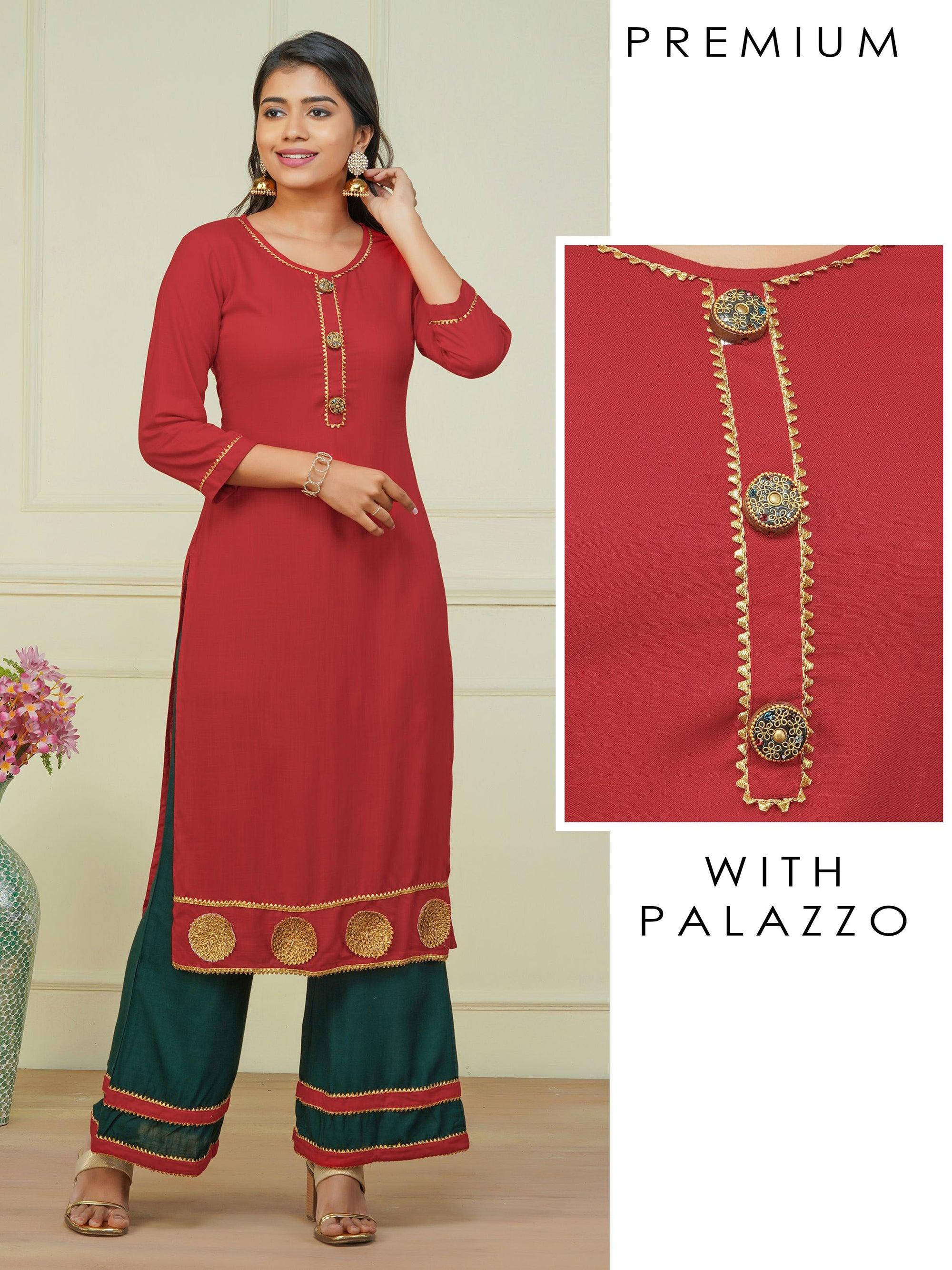 Designer Buttoned Kurti with Gota Embeliished Palazzo Set -  Scarlet Red