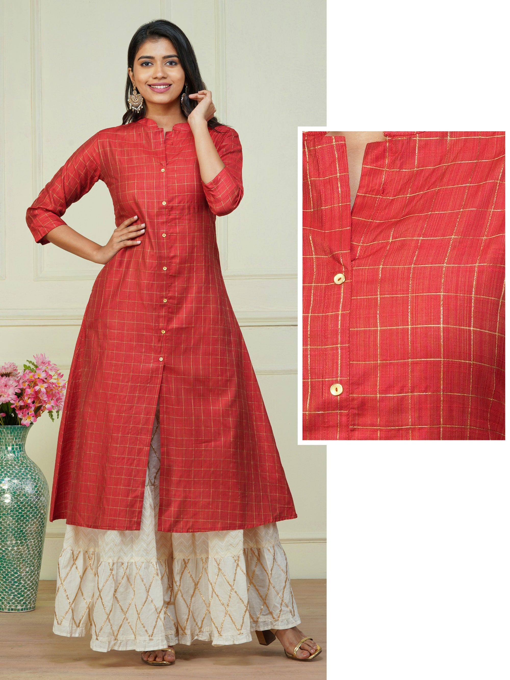 Zari Checkered A-Line Kurti – Red