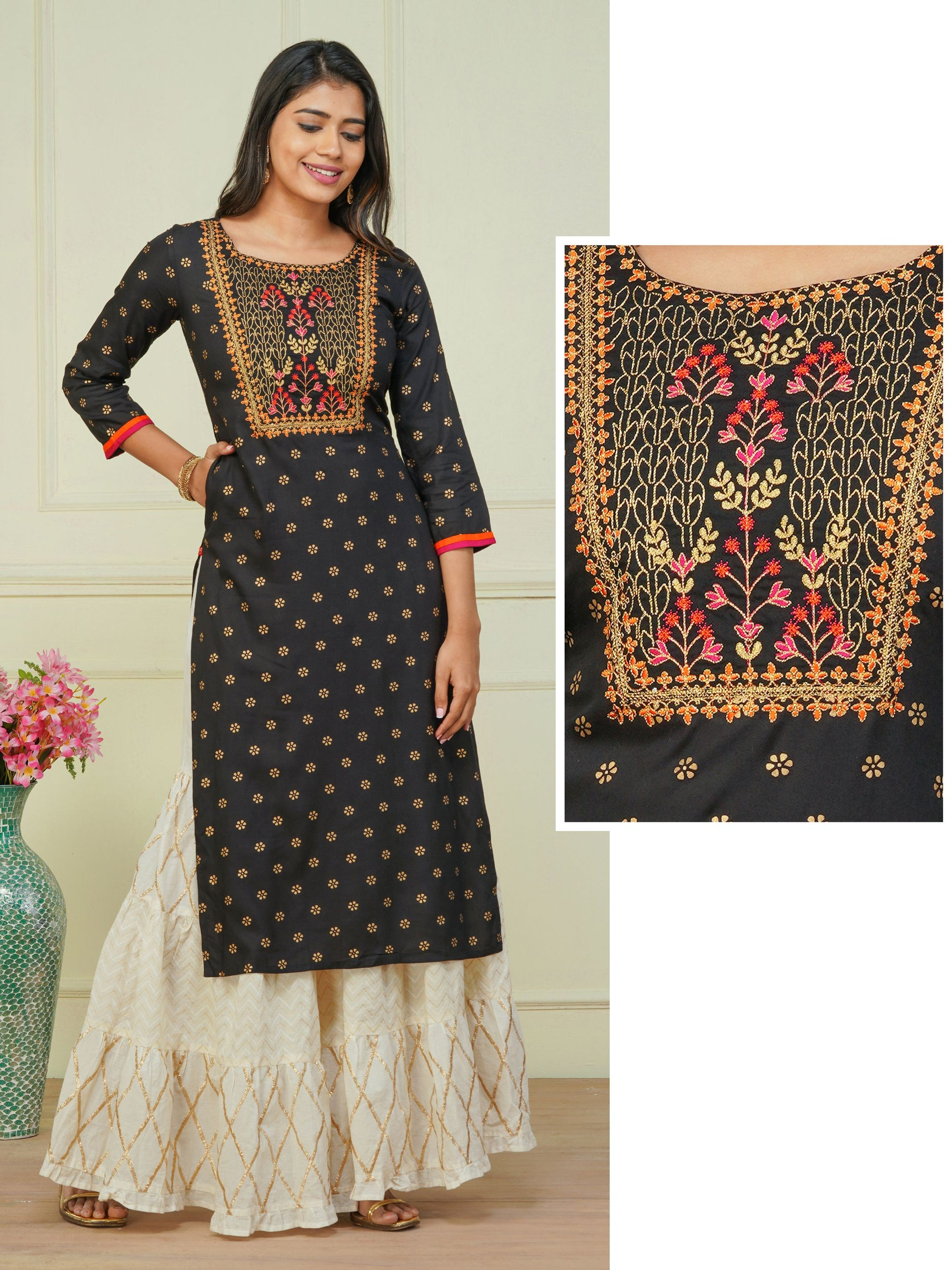 Zari Embroidered & Floral Khari Printed Kurti