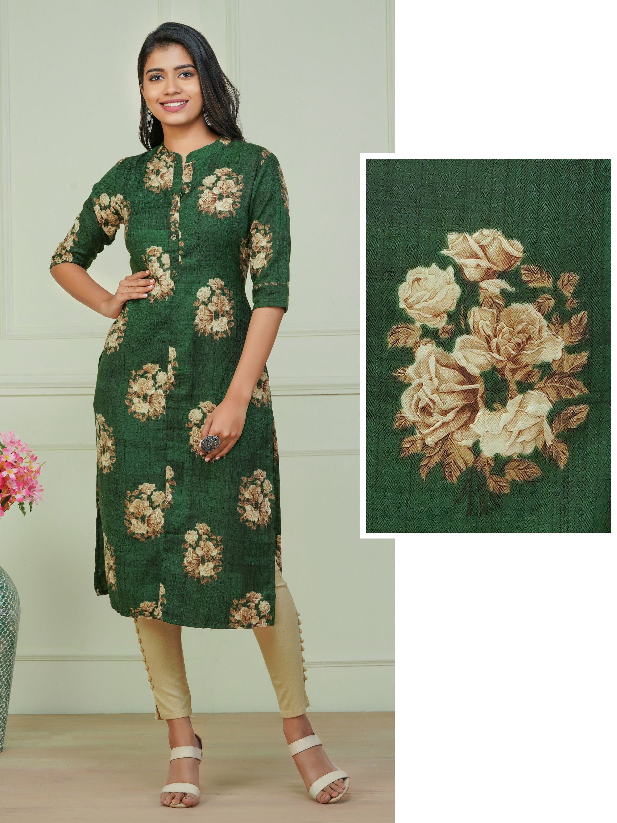 Floral Printed & Self Designed Poly Cotton Kurti