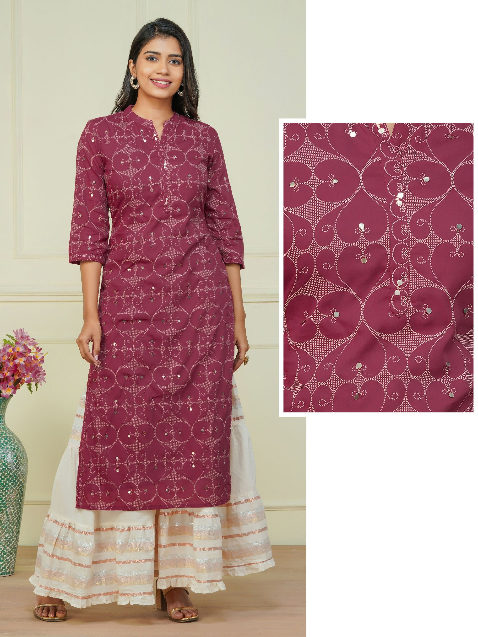 Sequins & Dotted Pattern Printed Kurti