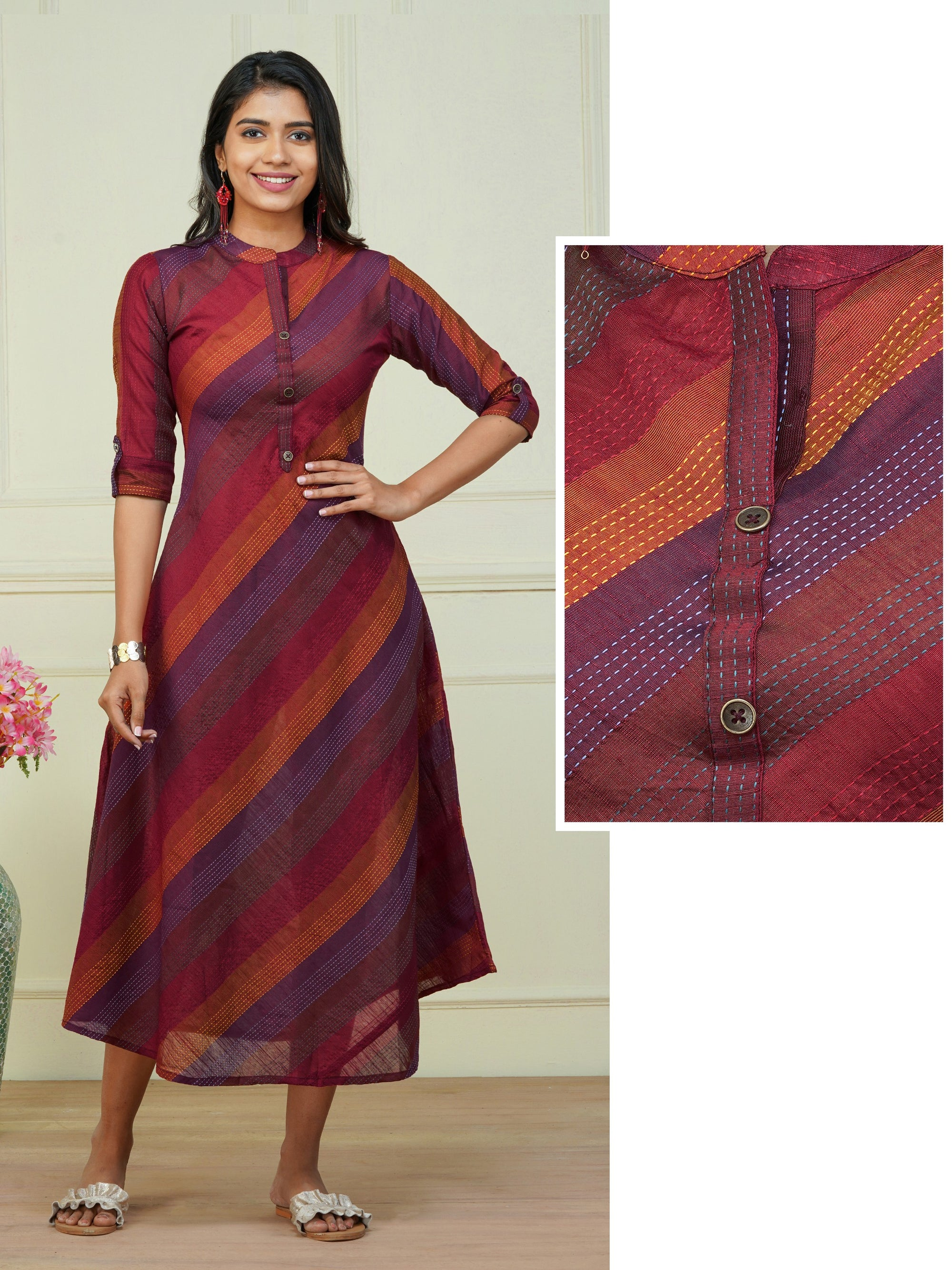 Elegant Regimental Striped A-Line Maxi – Maroon