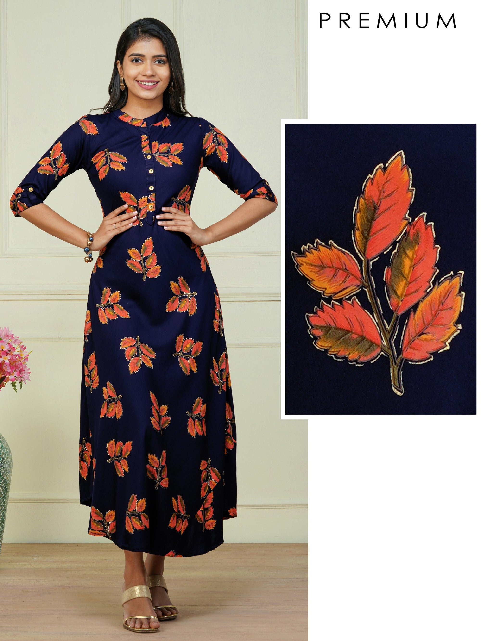 Autumn Leaf Printed A-Line Maxi – Navy Blue