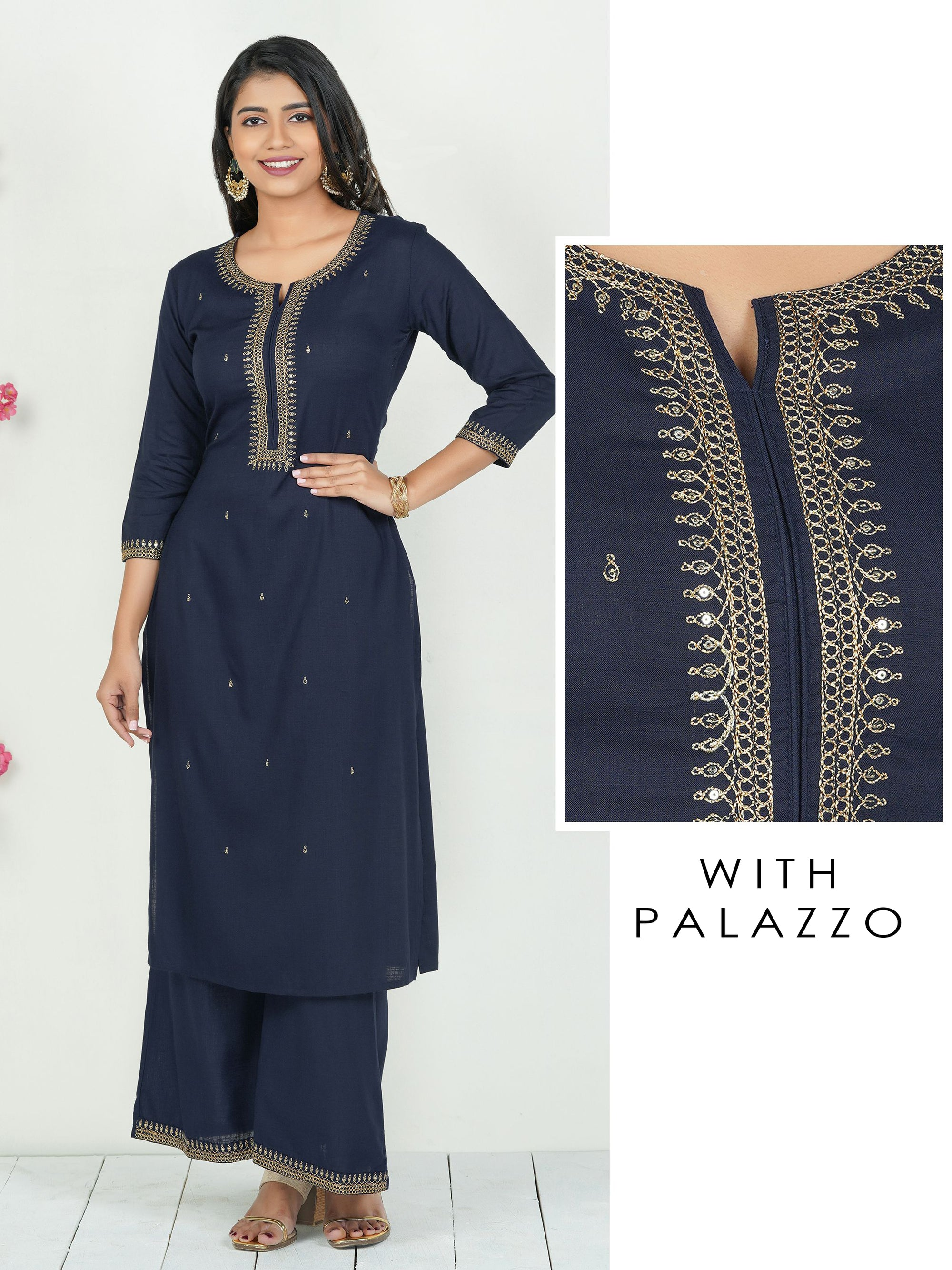 Minimal Zari Embroidered Sequins Kurti with Palazzo Set