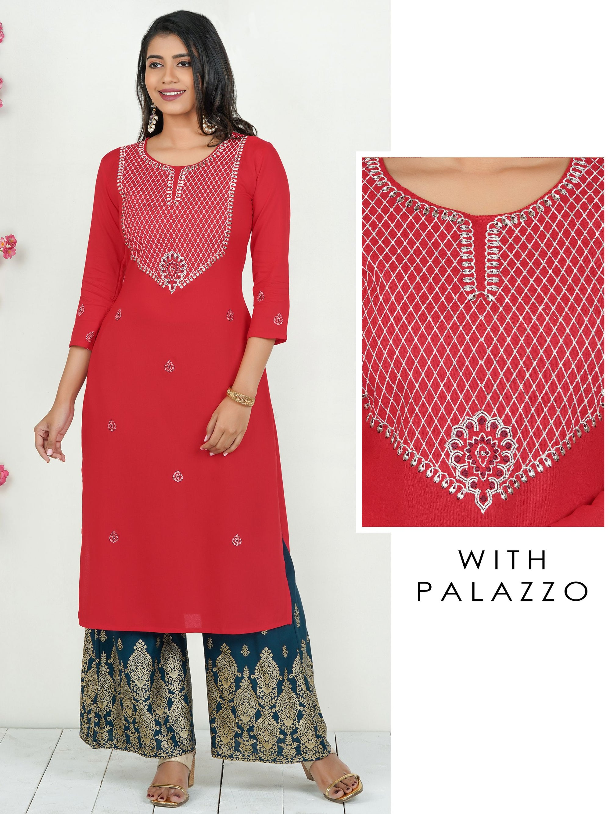 Silver Zari Embroidered Kurti with Mughal Printed Palazzo Set