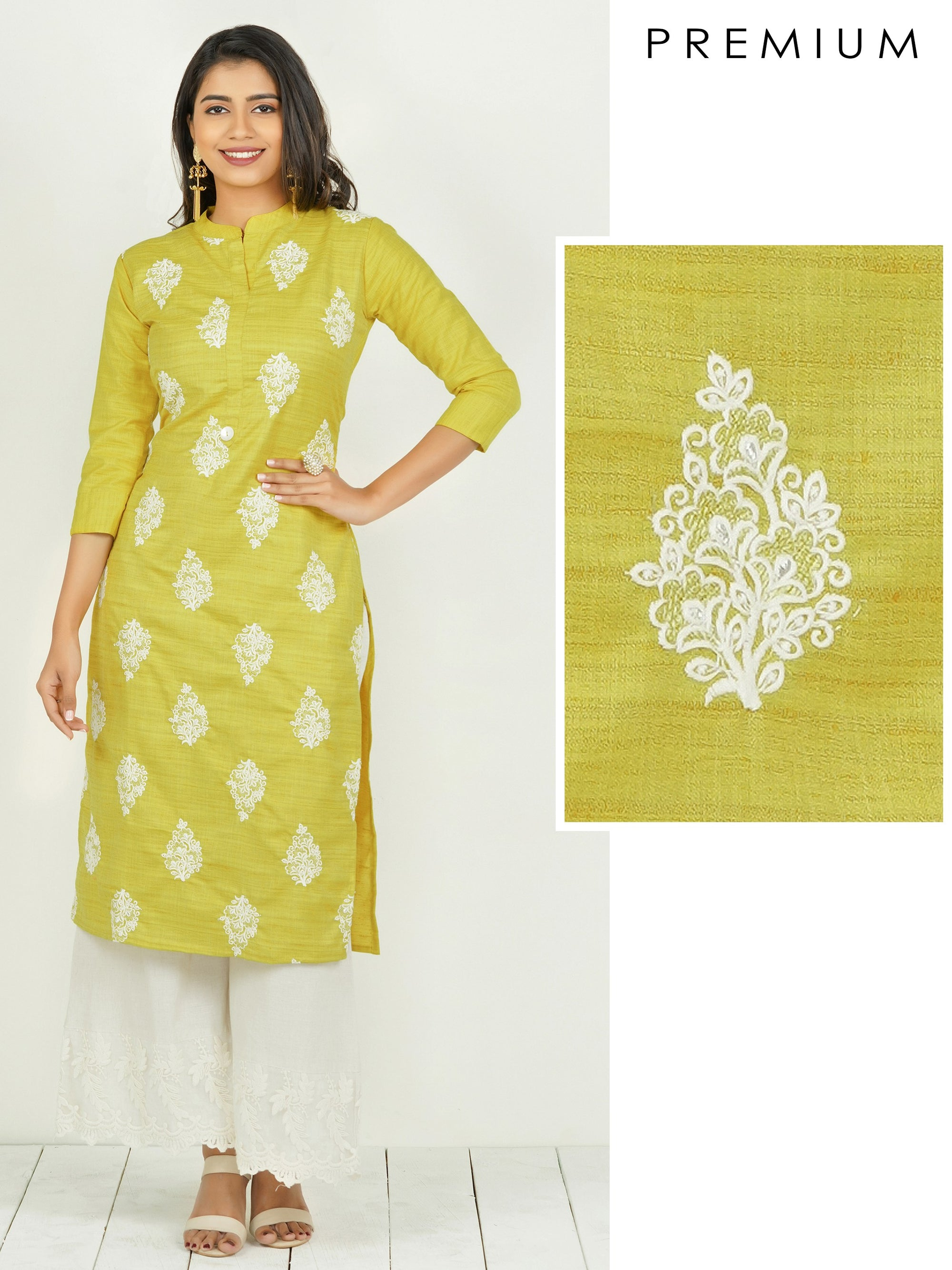 Floral & Cross Stitch Embroidered Kurti - Chartreuse Yellow