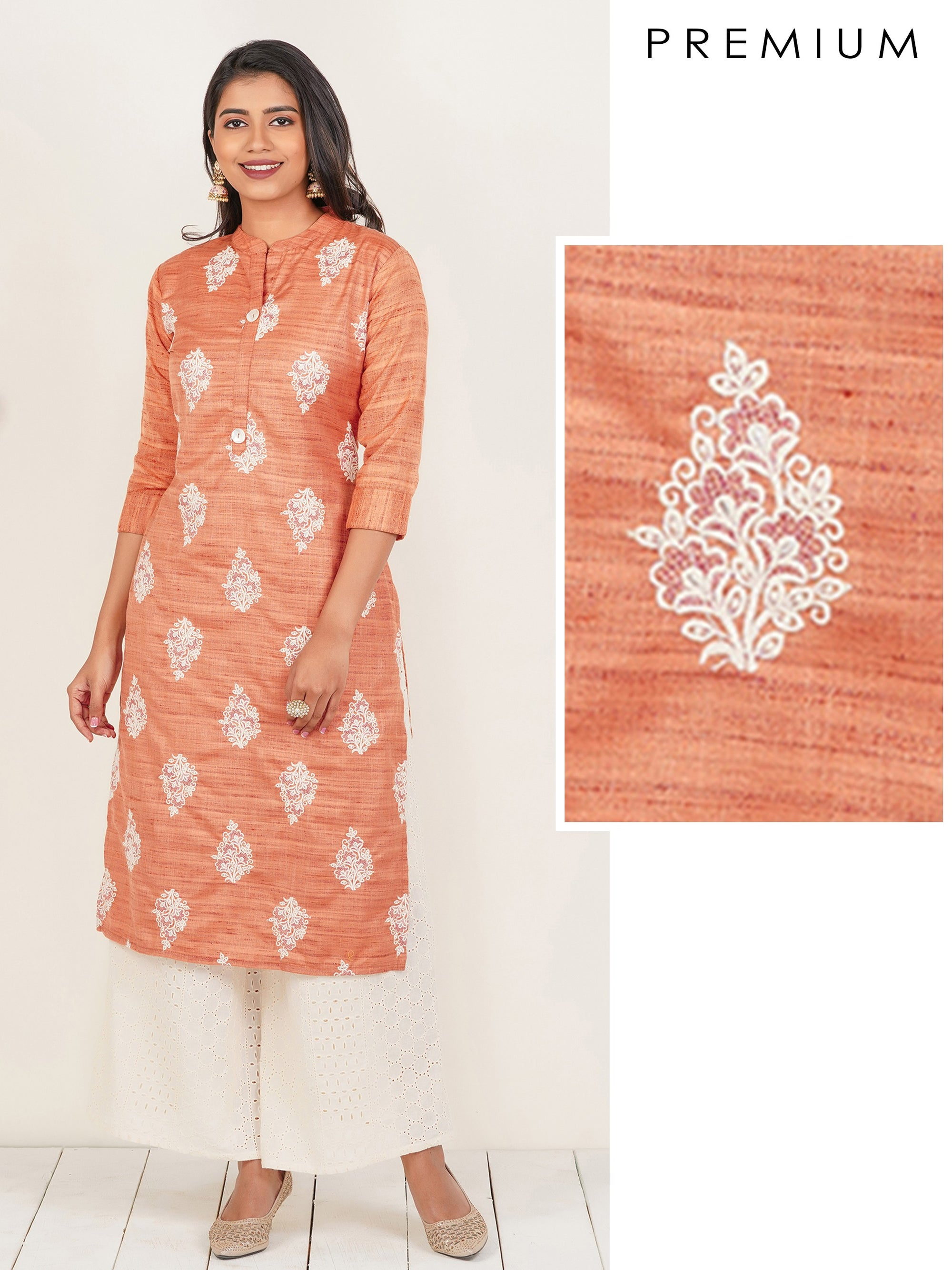 Floral & Cross Stitch Embroidered Kurti – Peach