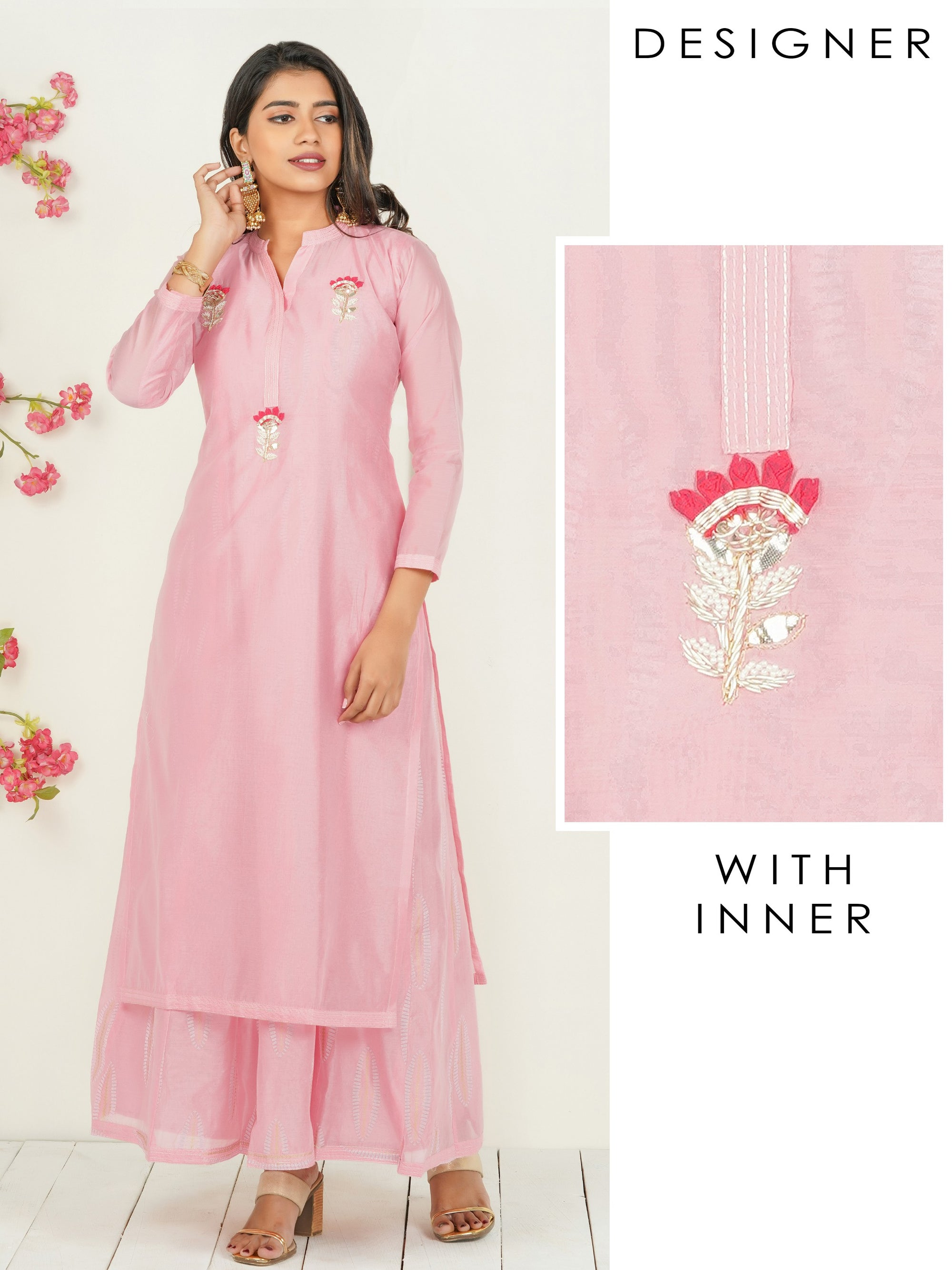 Gota & Zardosi Embellished Kurti with Detachable Leaf Printed Long Inner - Pink
