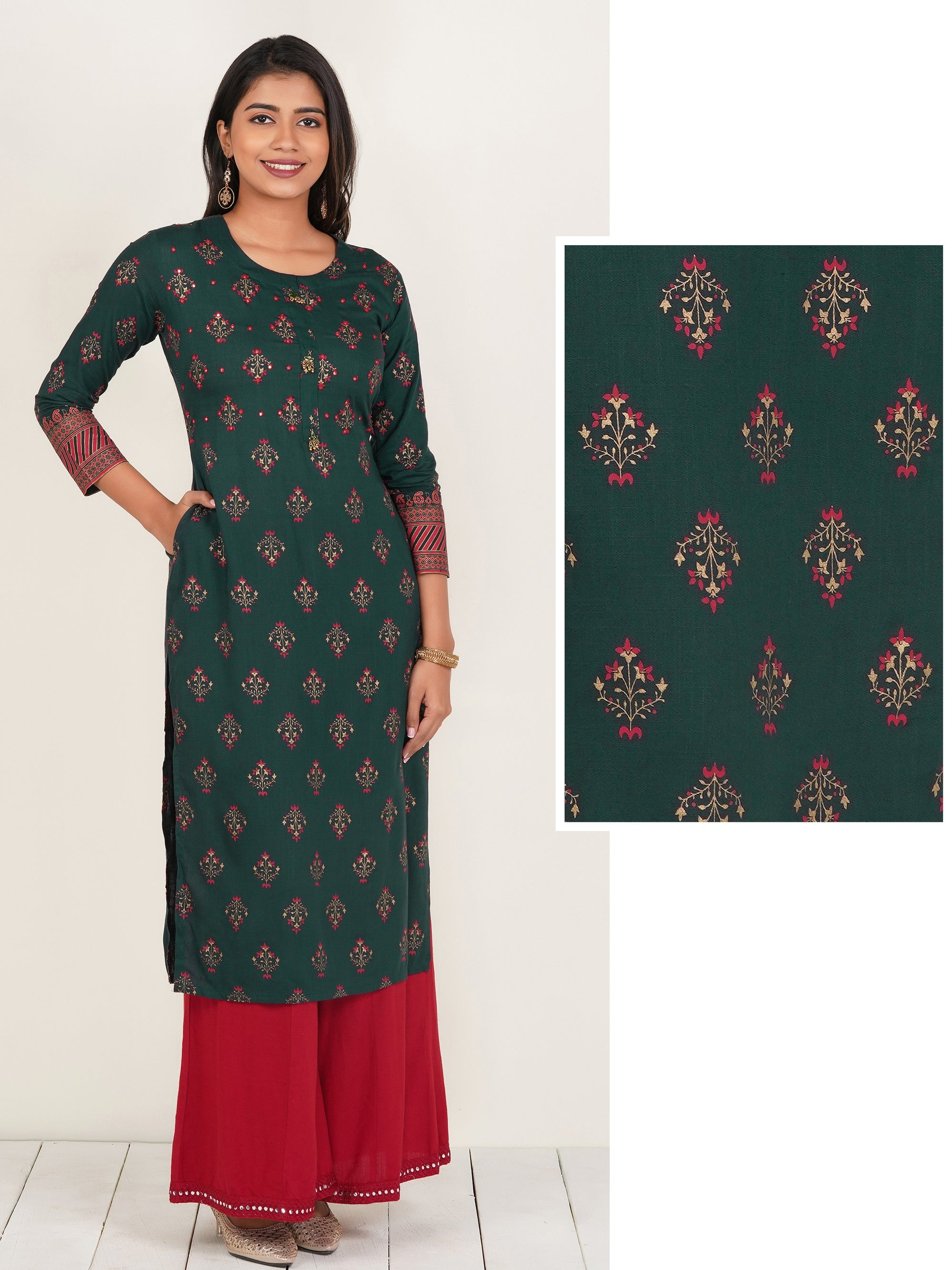Floral Printed Mirror worked Cotton Kurti – Bottle Green