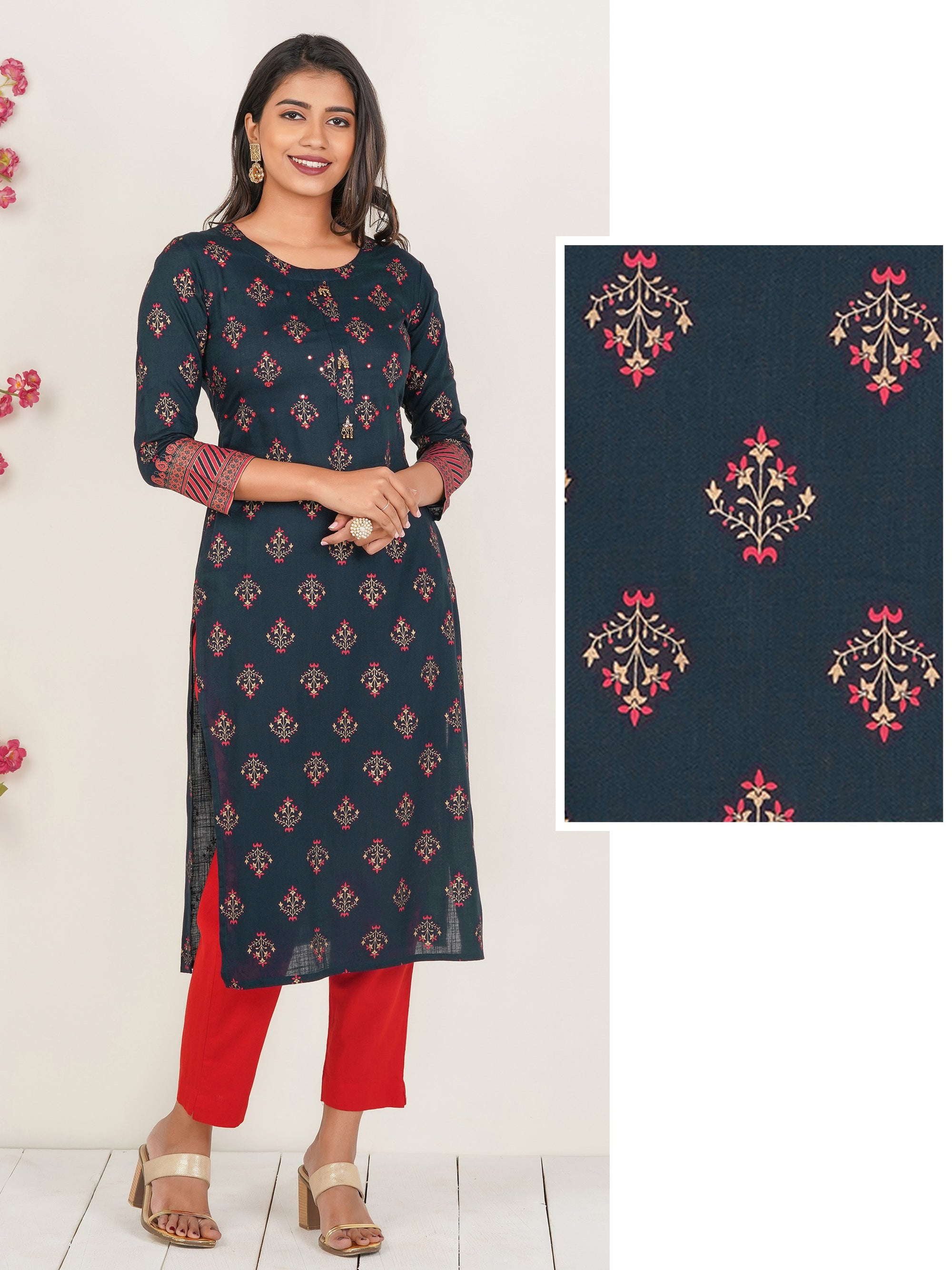 Floral Printed Mirror worked Cotton Kurti – Navy Blue