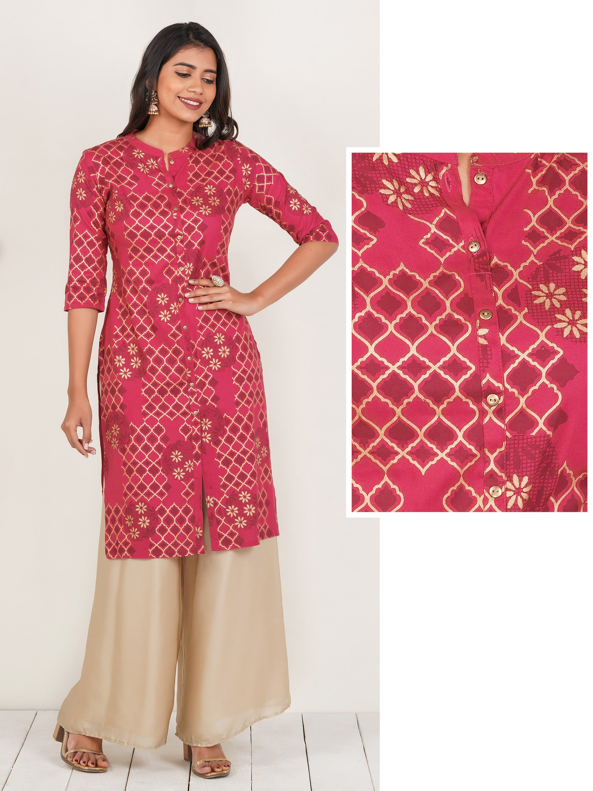 Shadow & Floral Printed Cotton Kurti – Pink