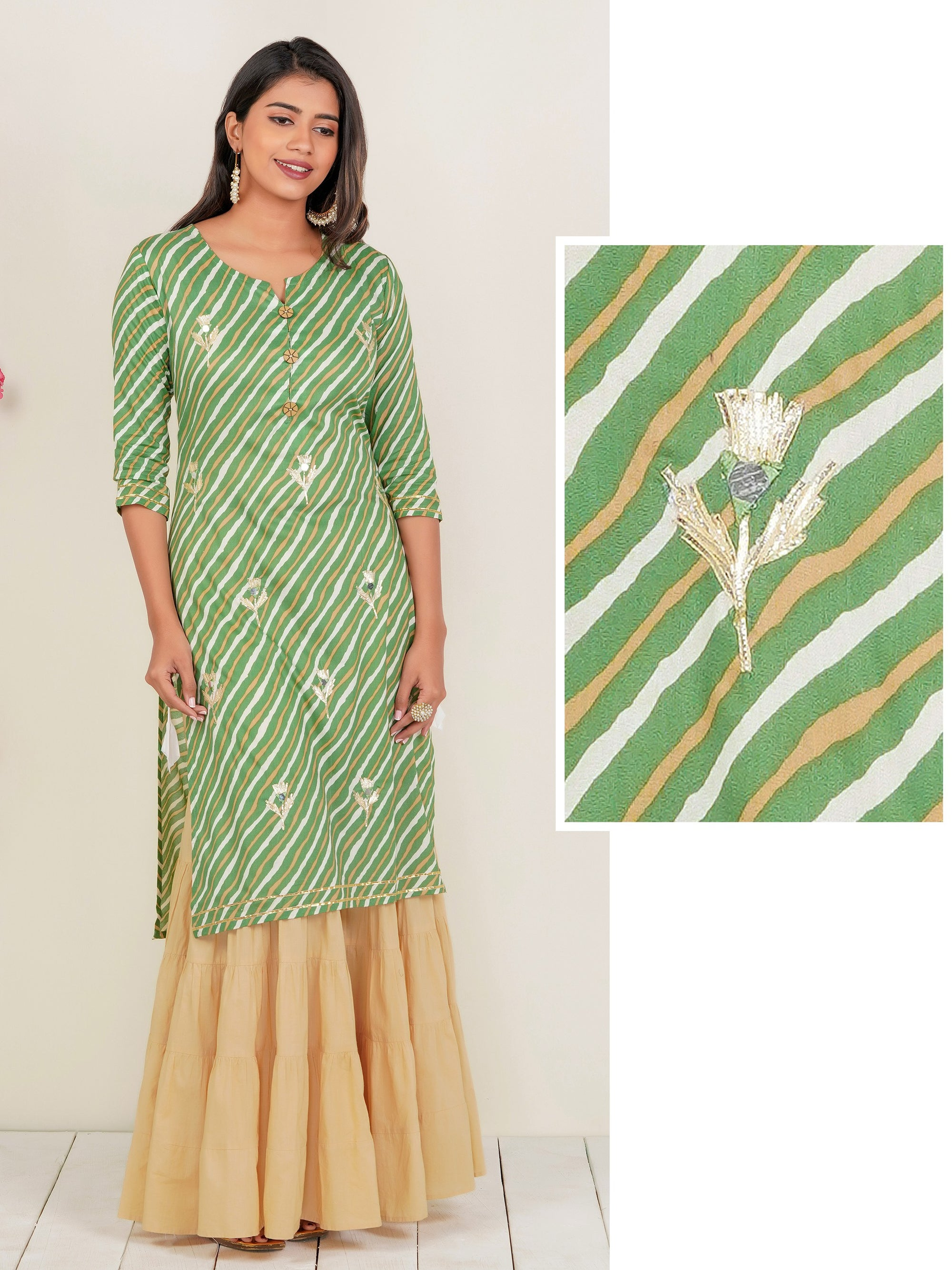 Lehariya Printed Gota Detailed Kurti